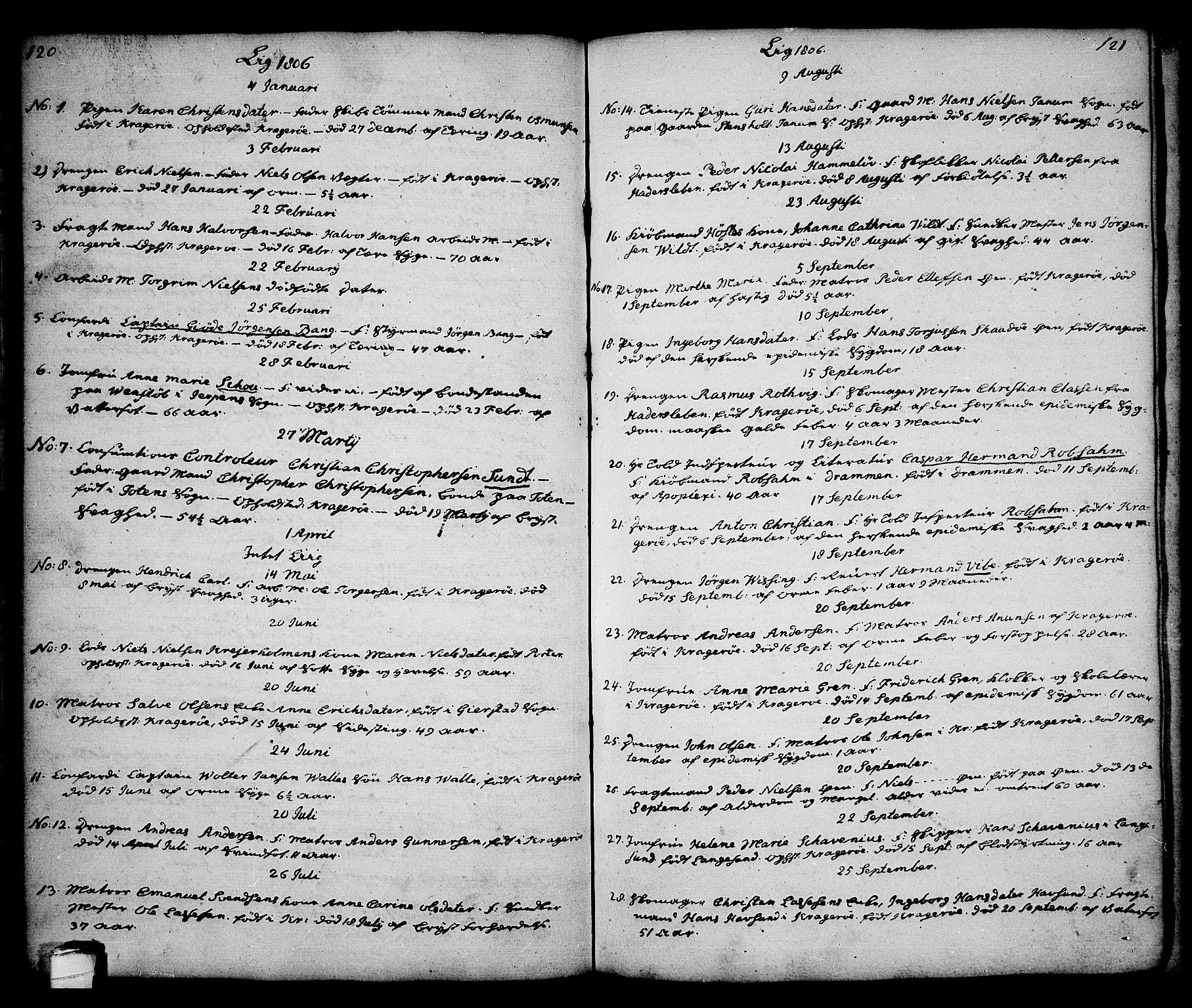 SAKO, Kragerø kirkebøker, G/Ga/L0001: Klokkerbok nr. 1 /1, 1806-1811, s. 120-121