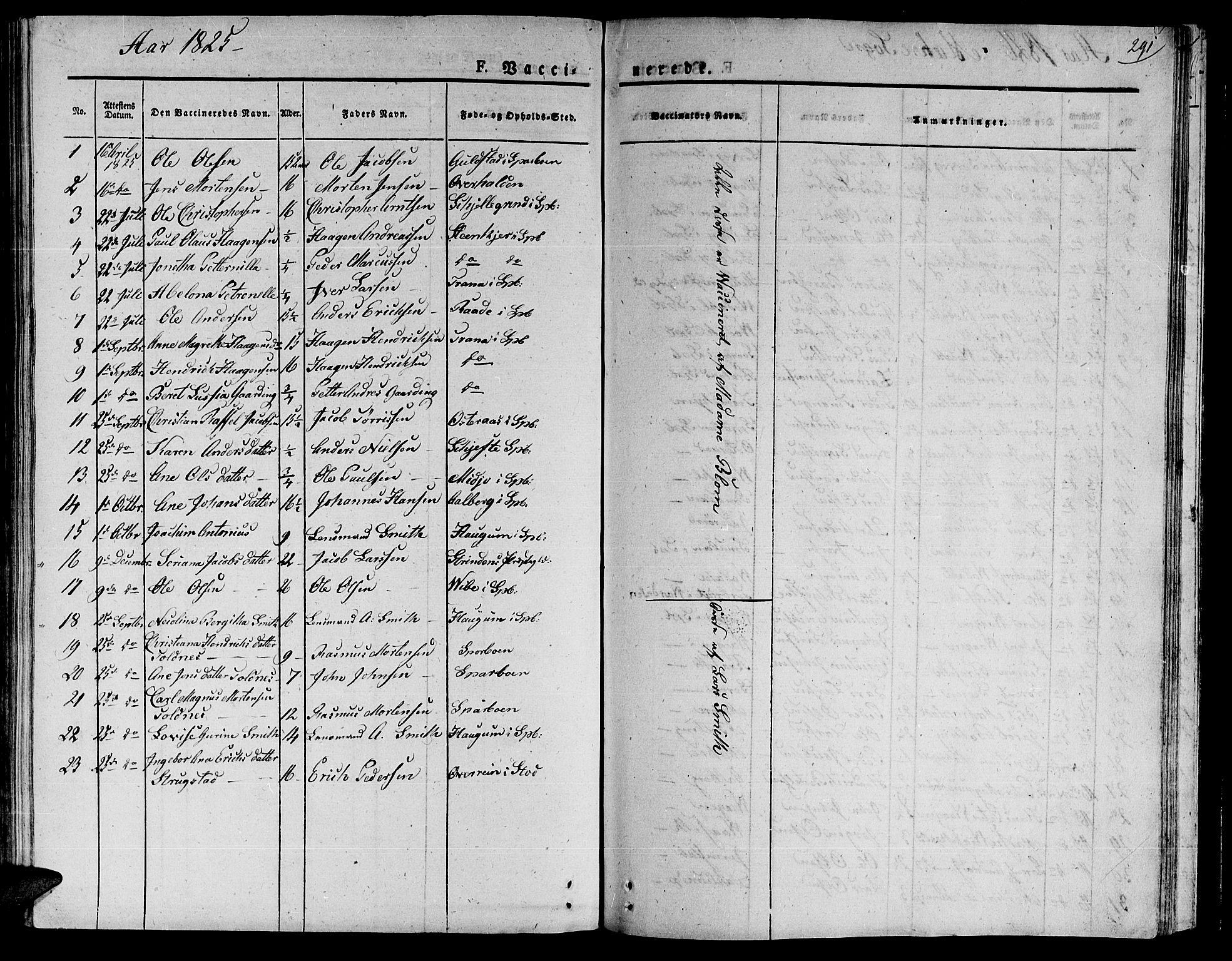 SAT, Ministerialprotokoller, klokkerbøker og fødselsregistre - Nord-Trøndelag, 735/L0336: Ministerialbok nr. 735A05 /1, 1825-1835, s. 291