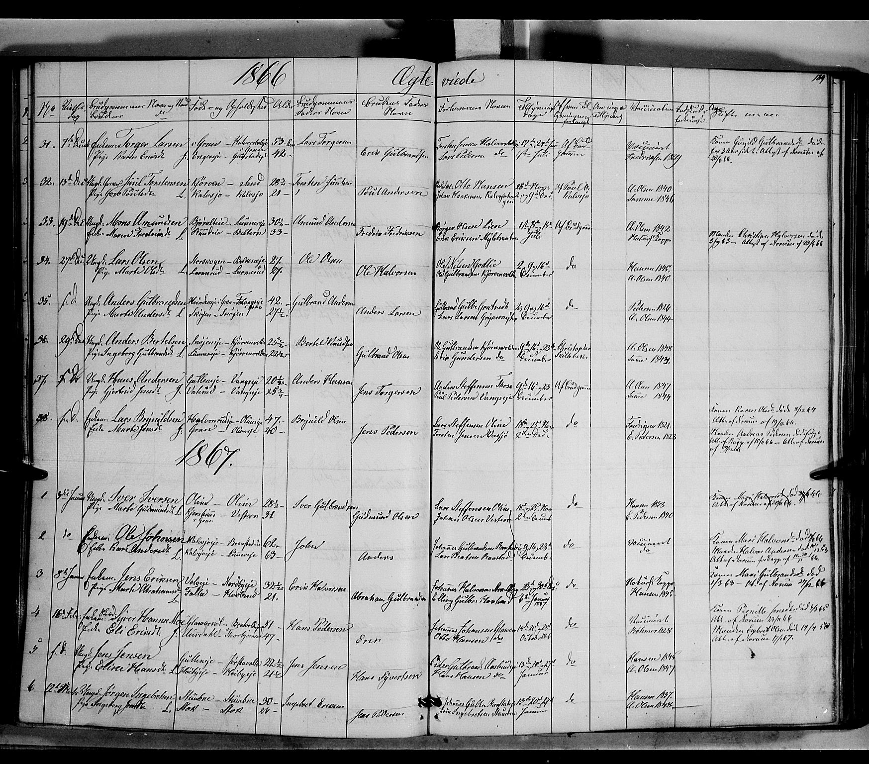 SAH, Jevnaker prestekontor, Ministerialbok nr. 7, 1858-1876, s. 189