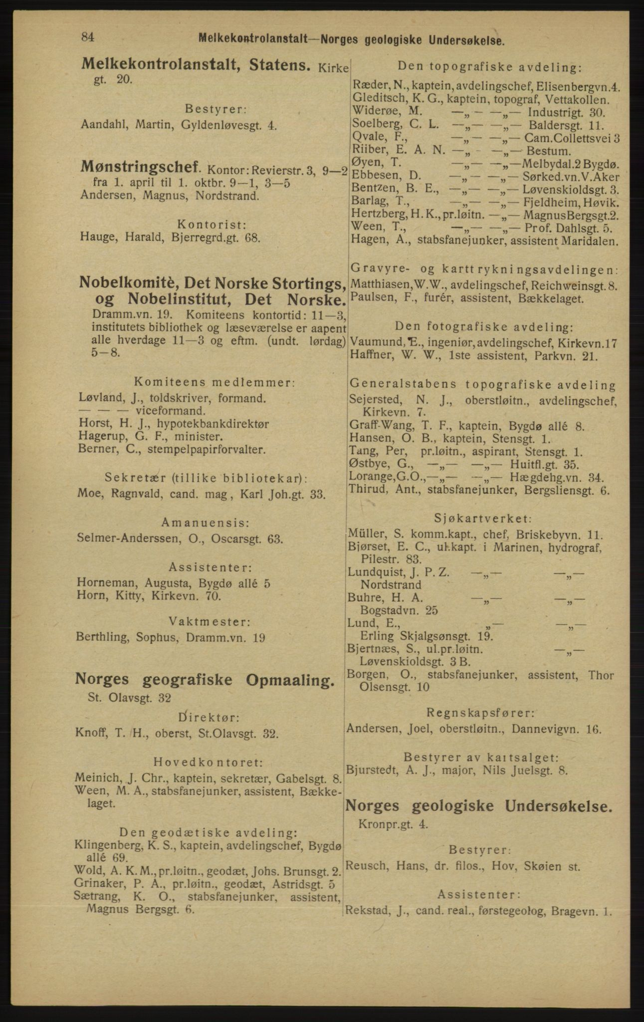 RA, Kristiania adressebok (publikasjon)*, 1913, s. 84