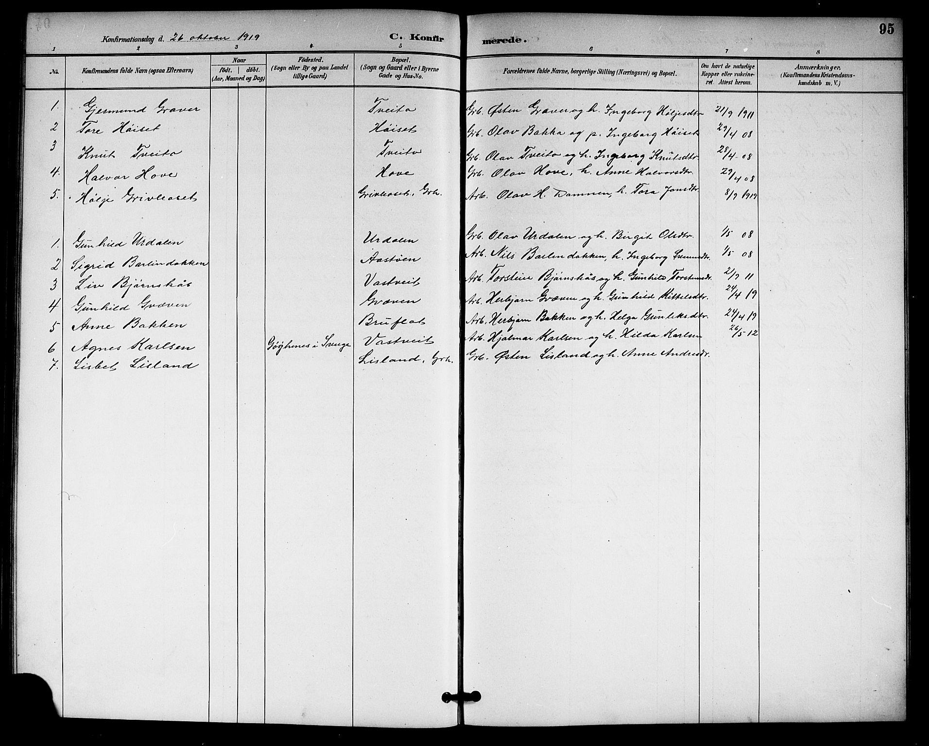SAKO, Gransherad kirkebøker, G/Gb/L0003: Klokkerbok nr. II 3, 1887-1921, s. 95