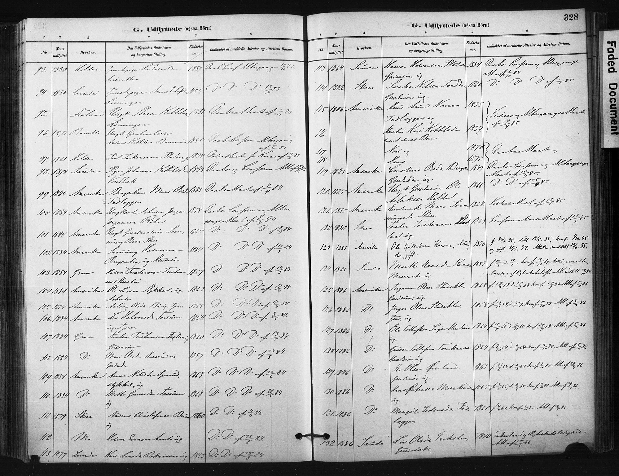 SAKO, Bø kirkebøker, F/Fa/L0010: Ministerialbok nr. 10, 1880-1892, s. 328