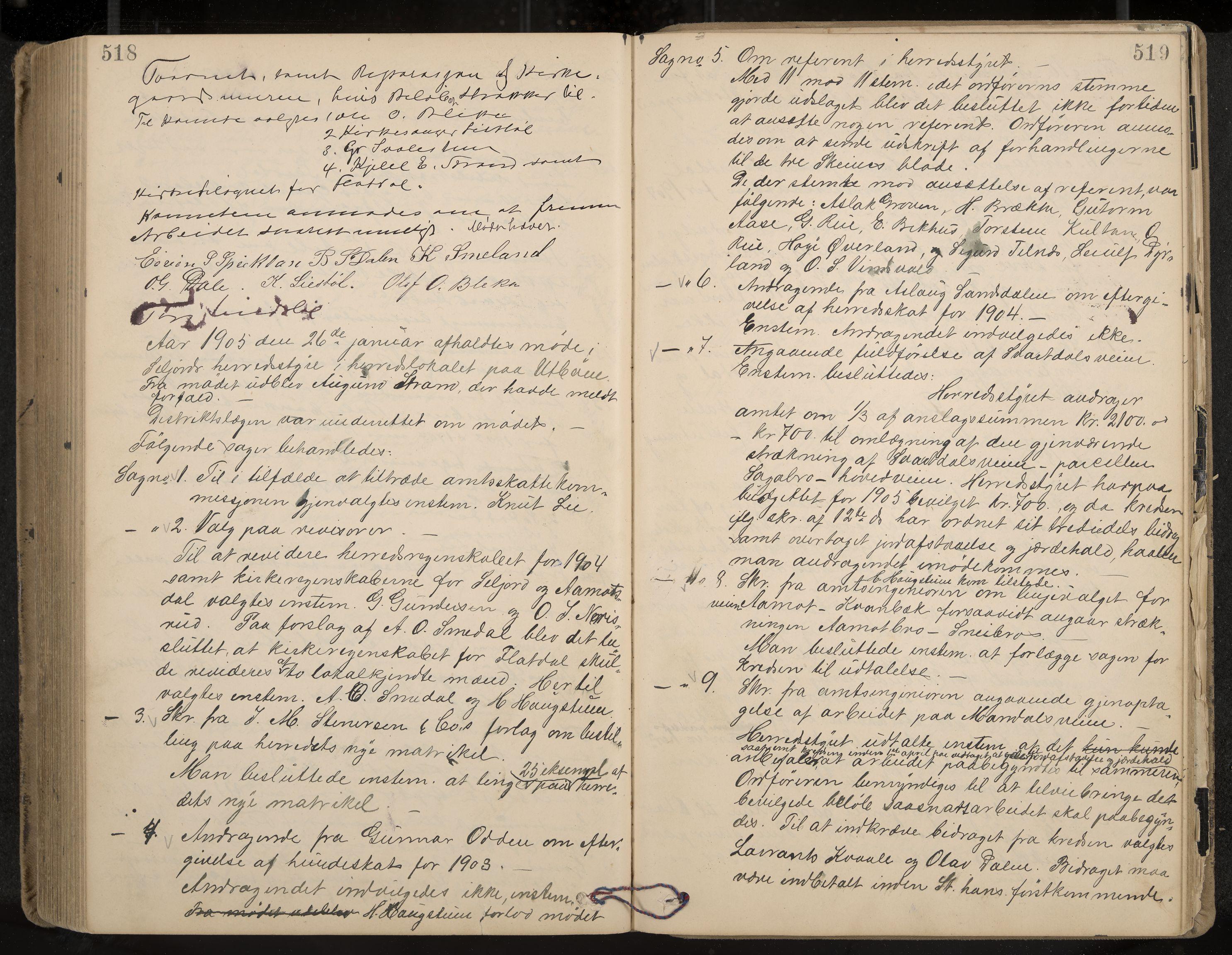 IKAK, Seljord formannskap og sentraladministrasjon, A/Aa/L0003: Møtebok med register, 1891-1905, s. 518-519
