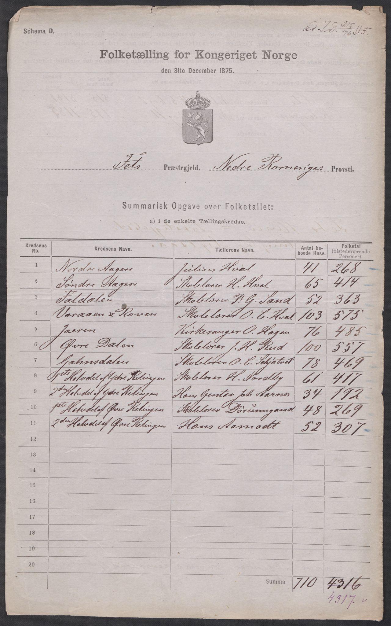 RA, Folketelling 1875 for 0227P Fet prestegjeld, 1875, s. 44