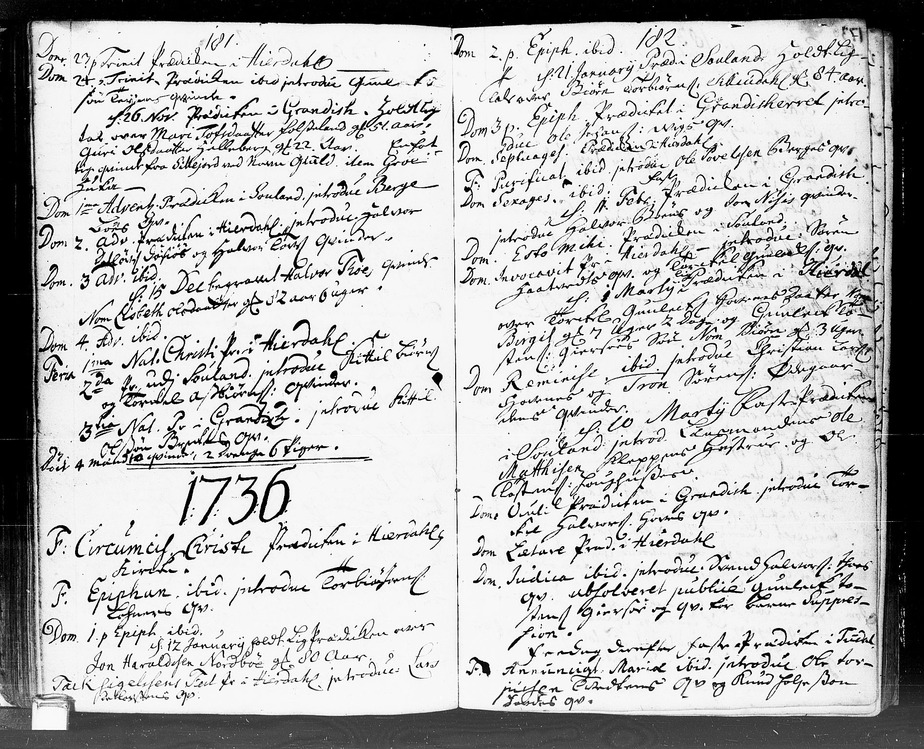 SAKO, Hjartdal kirkebøker, F/Fa/L0002: Ministerialbok nr. I 2, 1716-1754, s. 181-182