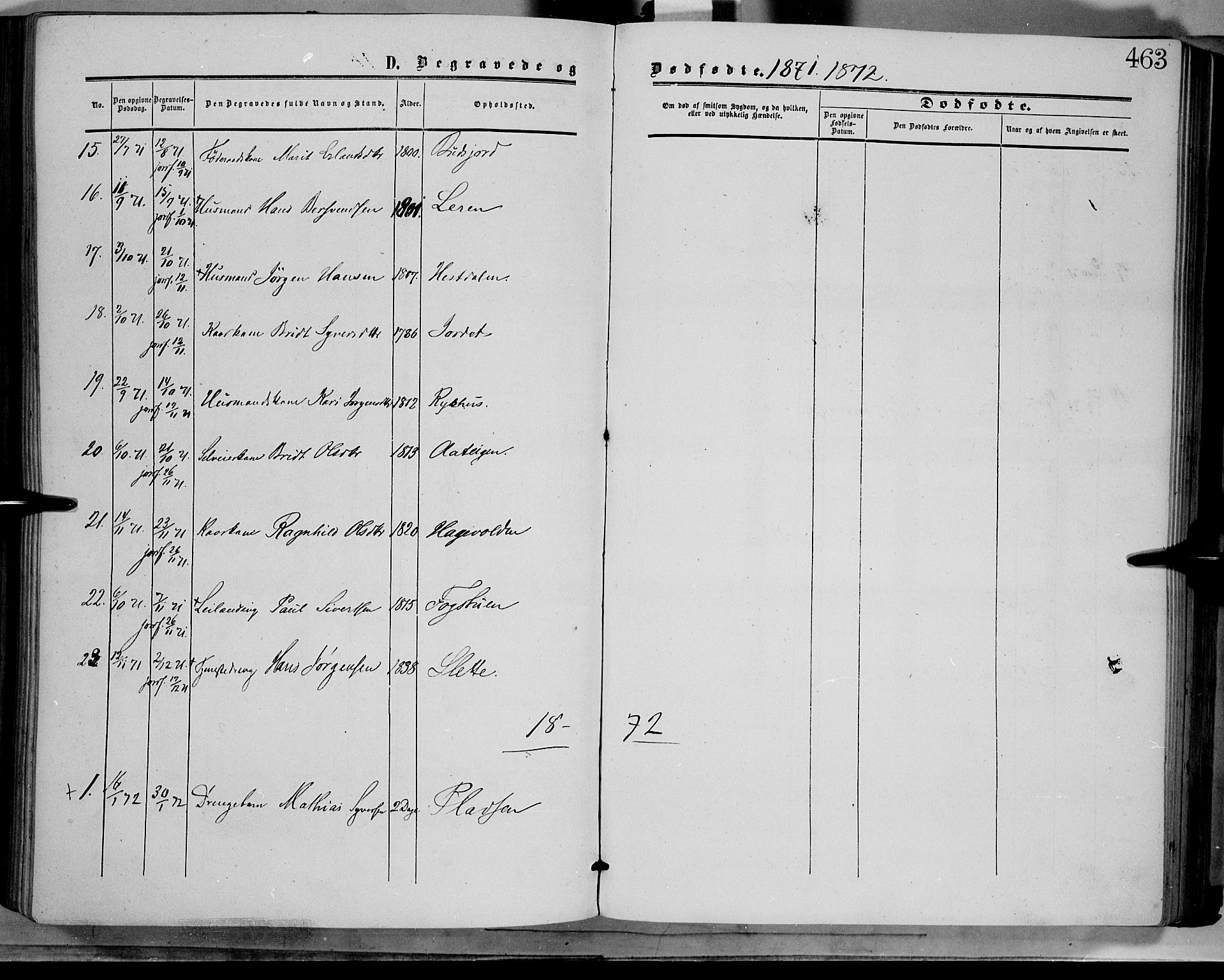 SAH, Dovre prestekontor, Ministerialbok nr. 1, 1854-1878, s. 463