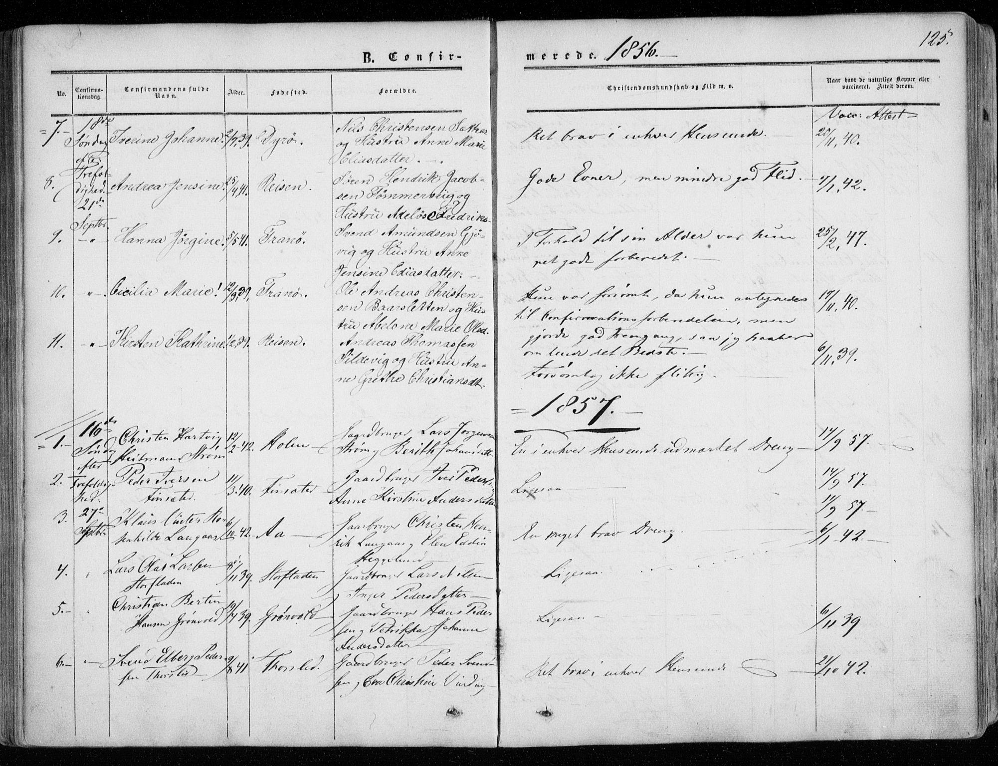 SATØ, Tranøy sokneprestkontor, I/Ia/Iaa/L0007kirke: Ministerialbok nr. 7, 1856-1866, s. 125