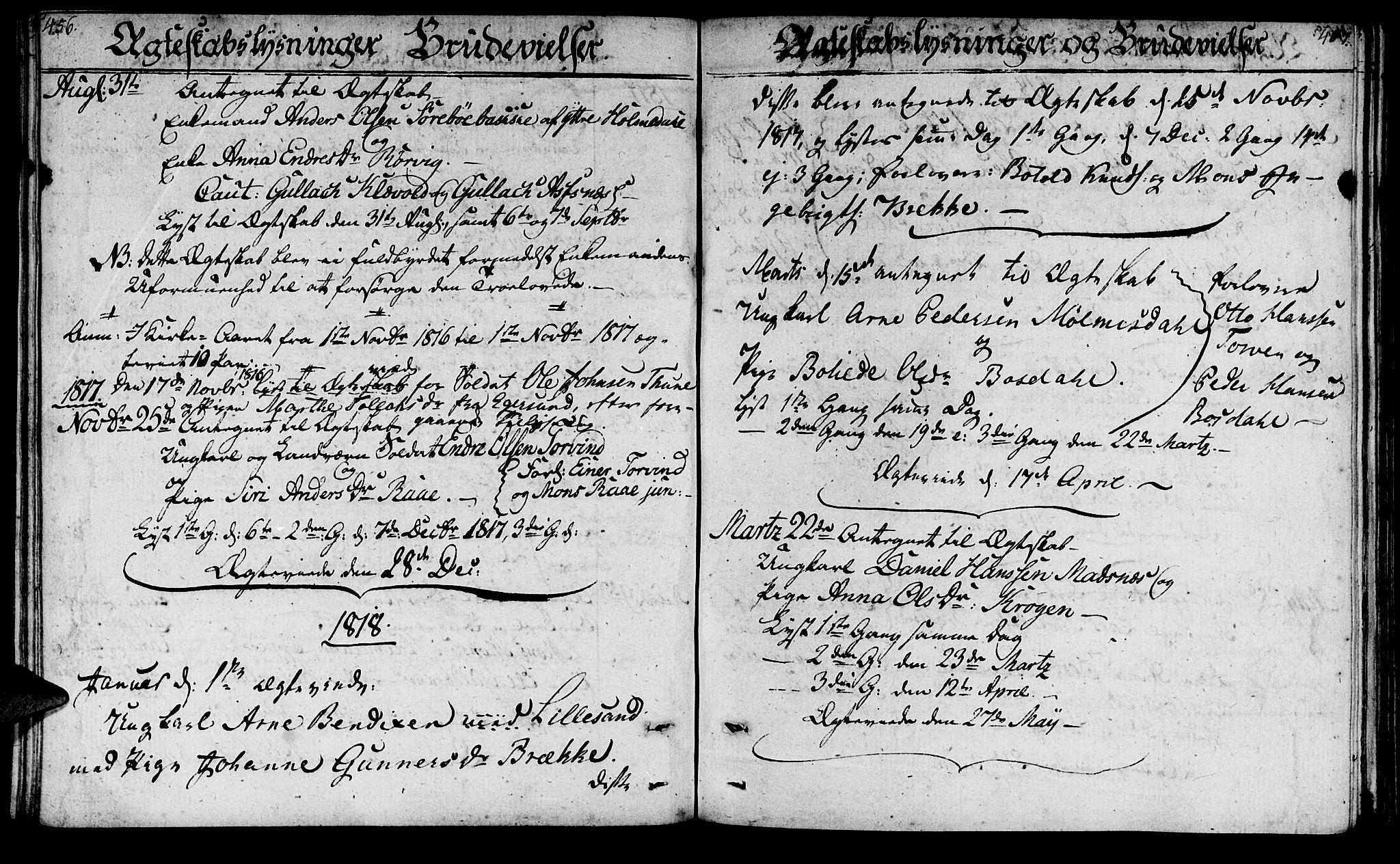 SAB, Lavik Sokneprestembete, Ministerialbok nr. A 1, 1809-1822, s. 456-457