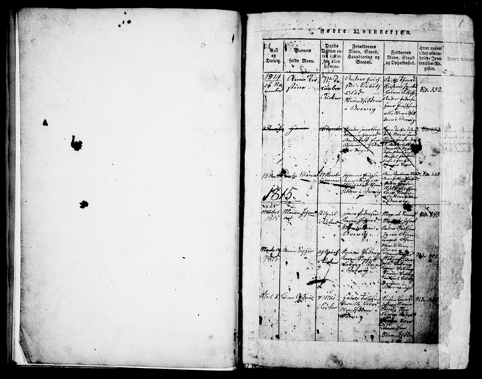 SAKO, Brevik kirkebøker, G/Ga/L0001: Klokkerbok nr. 1, 1814-1845, s. 1