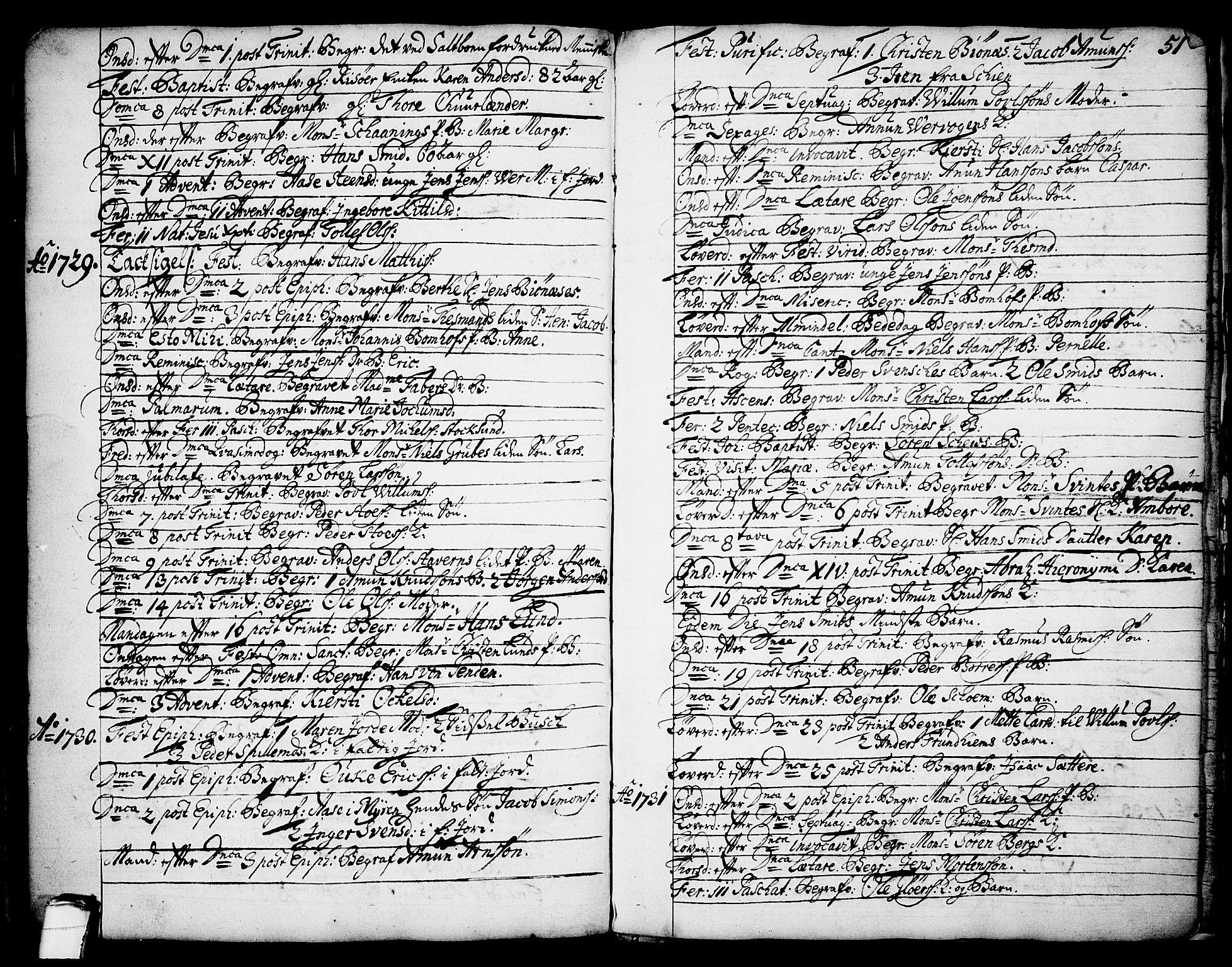 SAKO, Brevik kirkebøker, F/Fa/L0002: Ministerialbok nr. 2, 1720-1764, s. 51