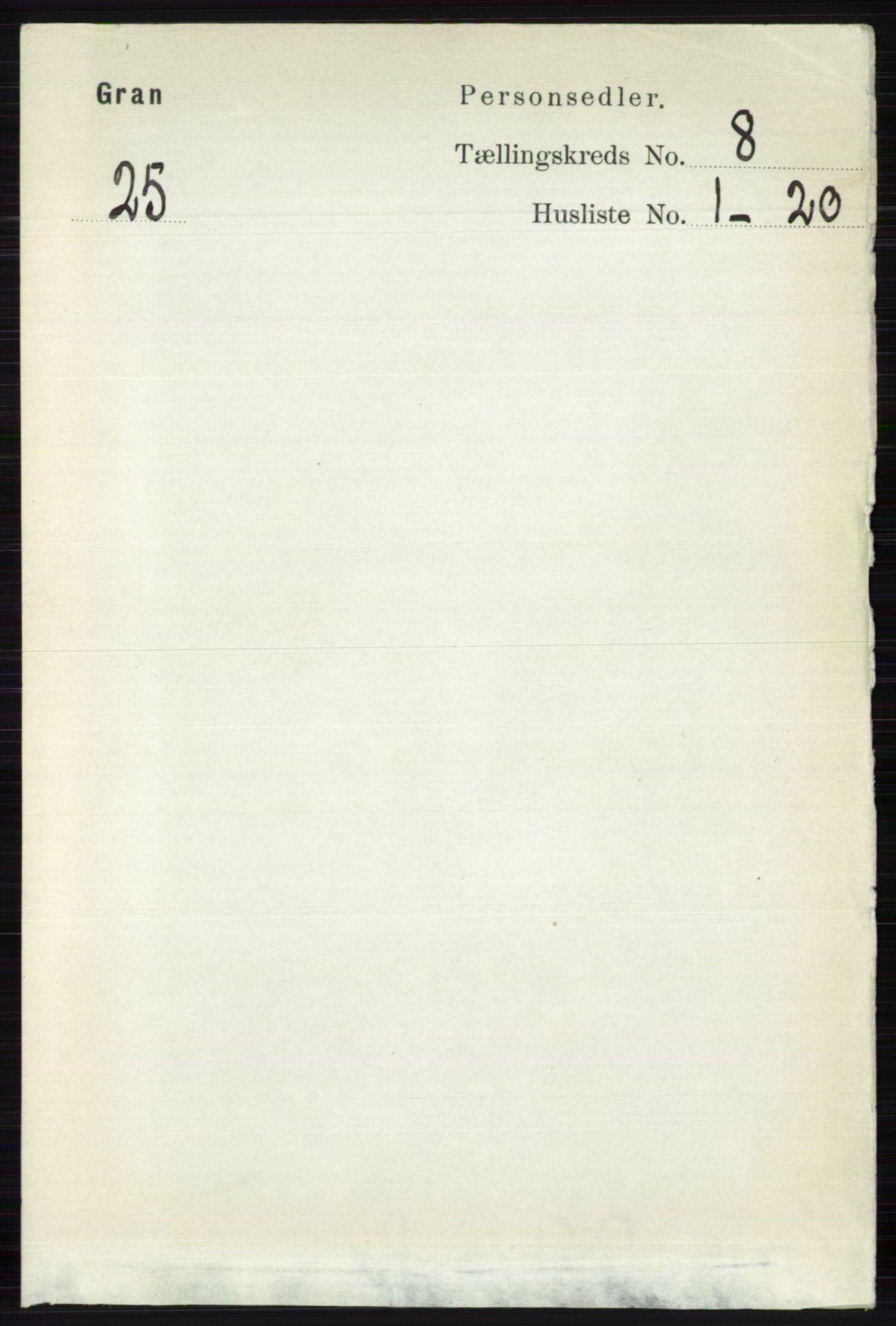 RA, Folketelling 1891 for 0534 Gran herred, 1891, s. 3346