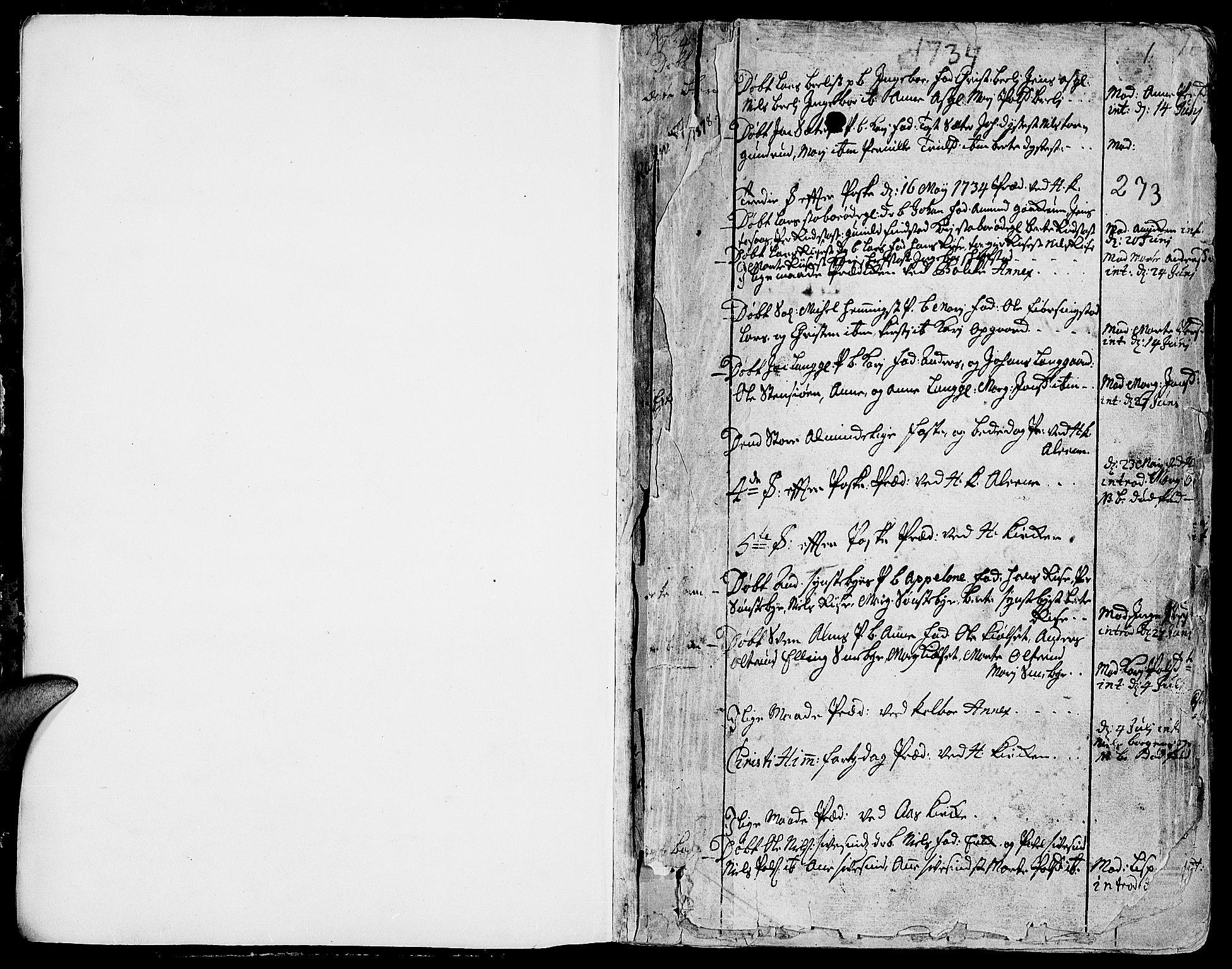 SAH, Toten prestekontor, Ministerialbok nr. 3, 1734-1751, s. 0-1