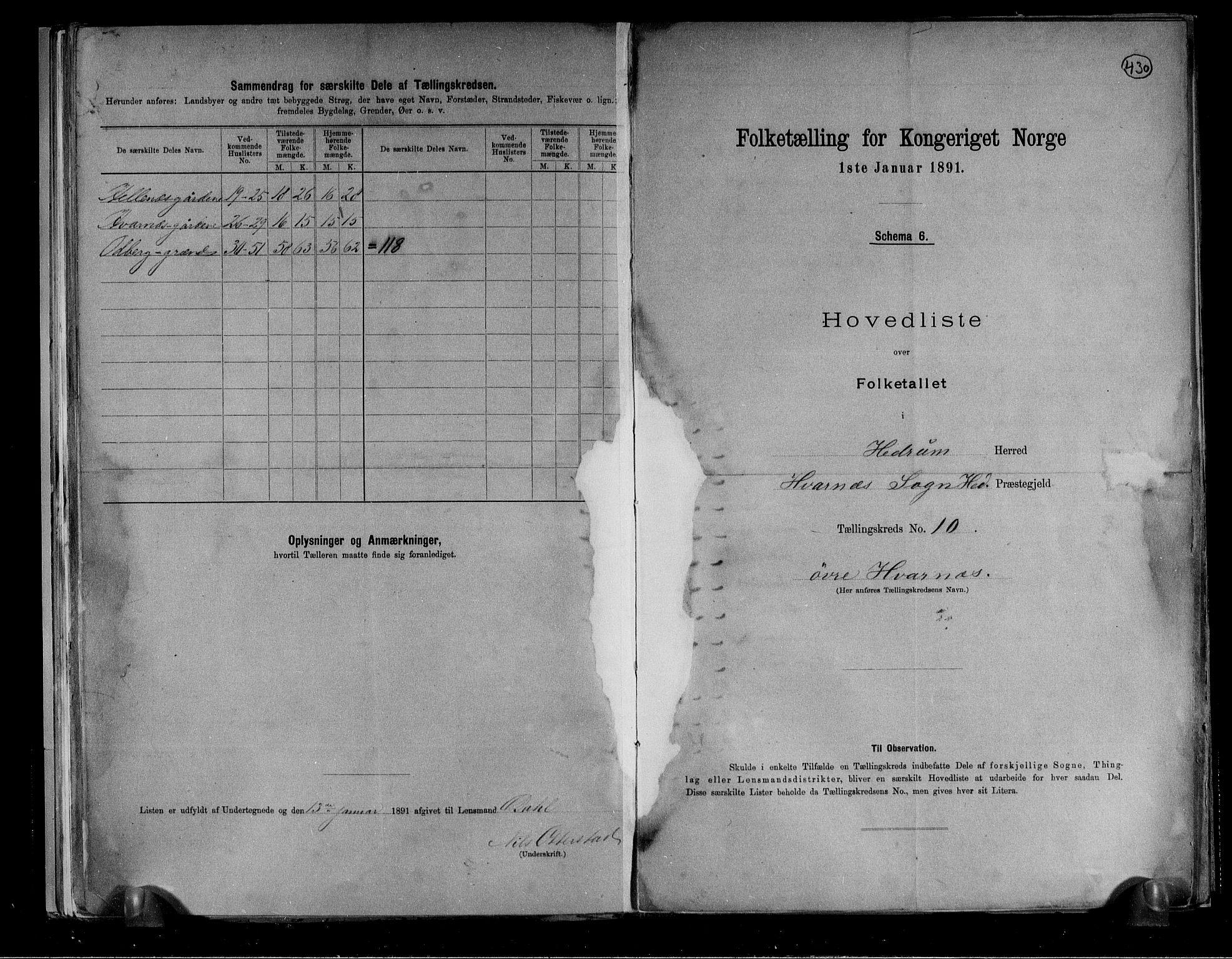 RA, Folketelling 1891 for 0727 Hedrum herred, 1891, s. 26