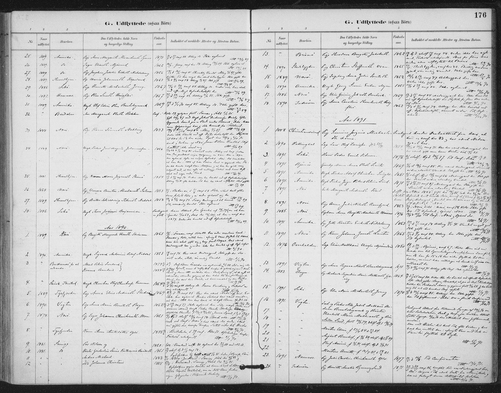 SAT, Ministerialprotokoller, klokkerbøker og fødselsregistre - Nord-Trøndelag, 780/L0644: Ministerialbok nr. 780A08, 1886-1903, s. 176