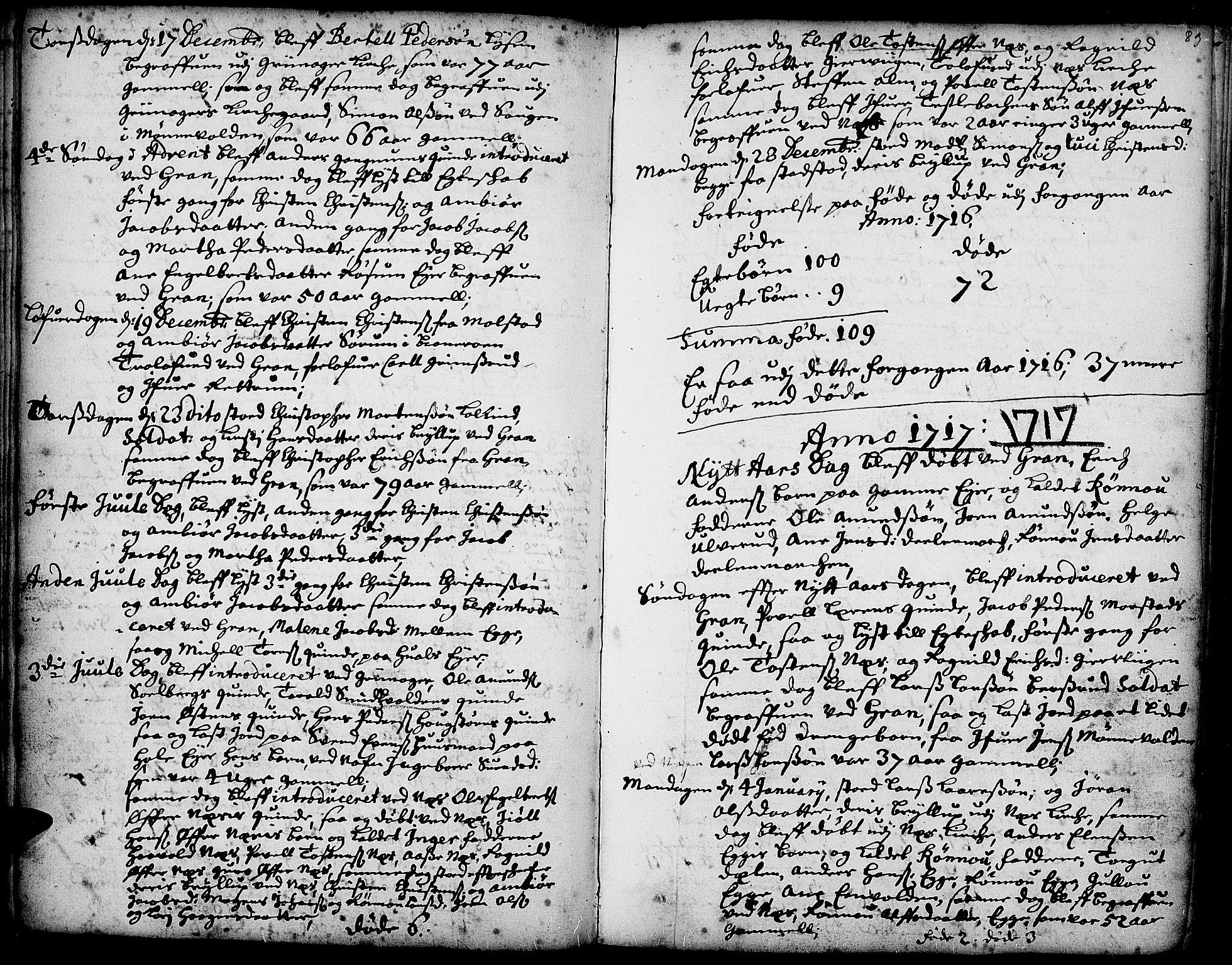 SAH, Gran prestekontor, Ministerialbok nr. 1, 1707-1731, s. 83