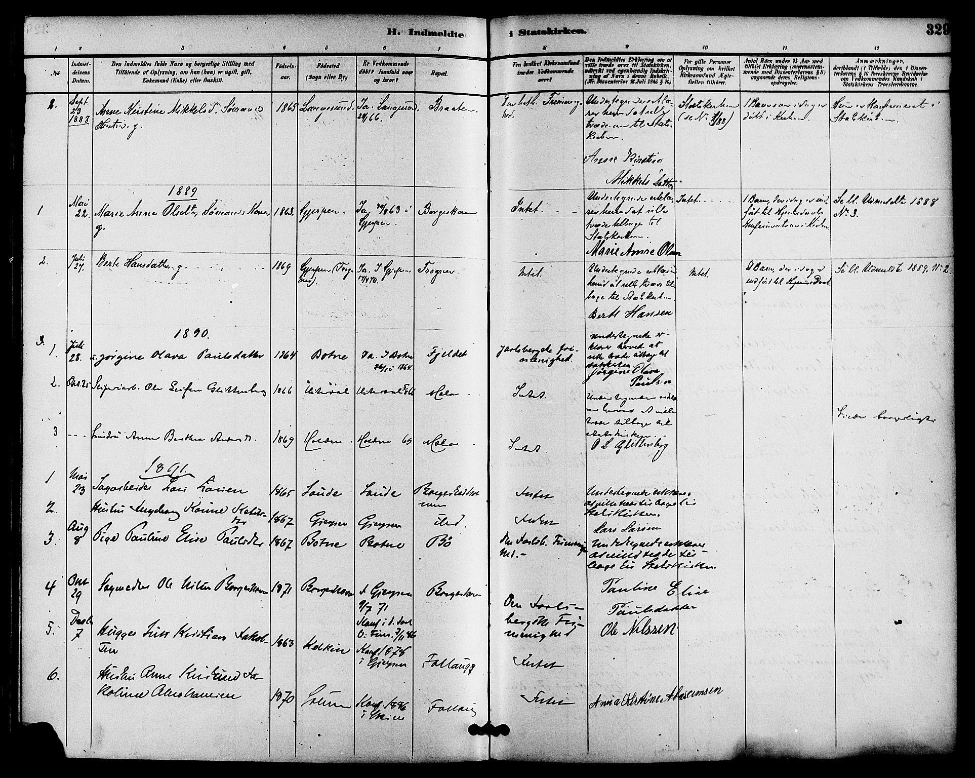 SAKO, Gjerpen kirkebøker, F/Fa/L0010: Ministerialbok nr. 10, 1886-1895, s. 329