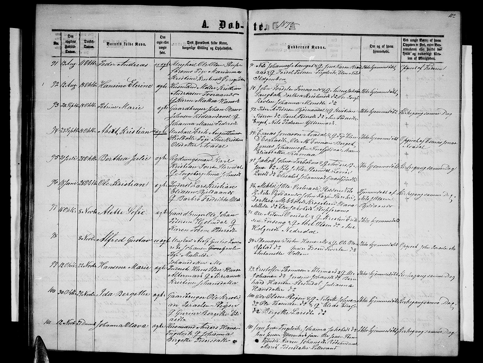 SAT, Ministerialprotokoller, klokkerbøker og fødselsregistre - Nordland, 827/L0415: Klokkerbok nr. 827C04, 1864-1886, s. 102