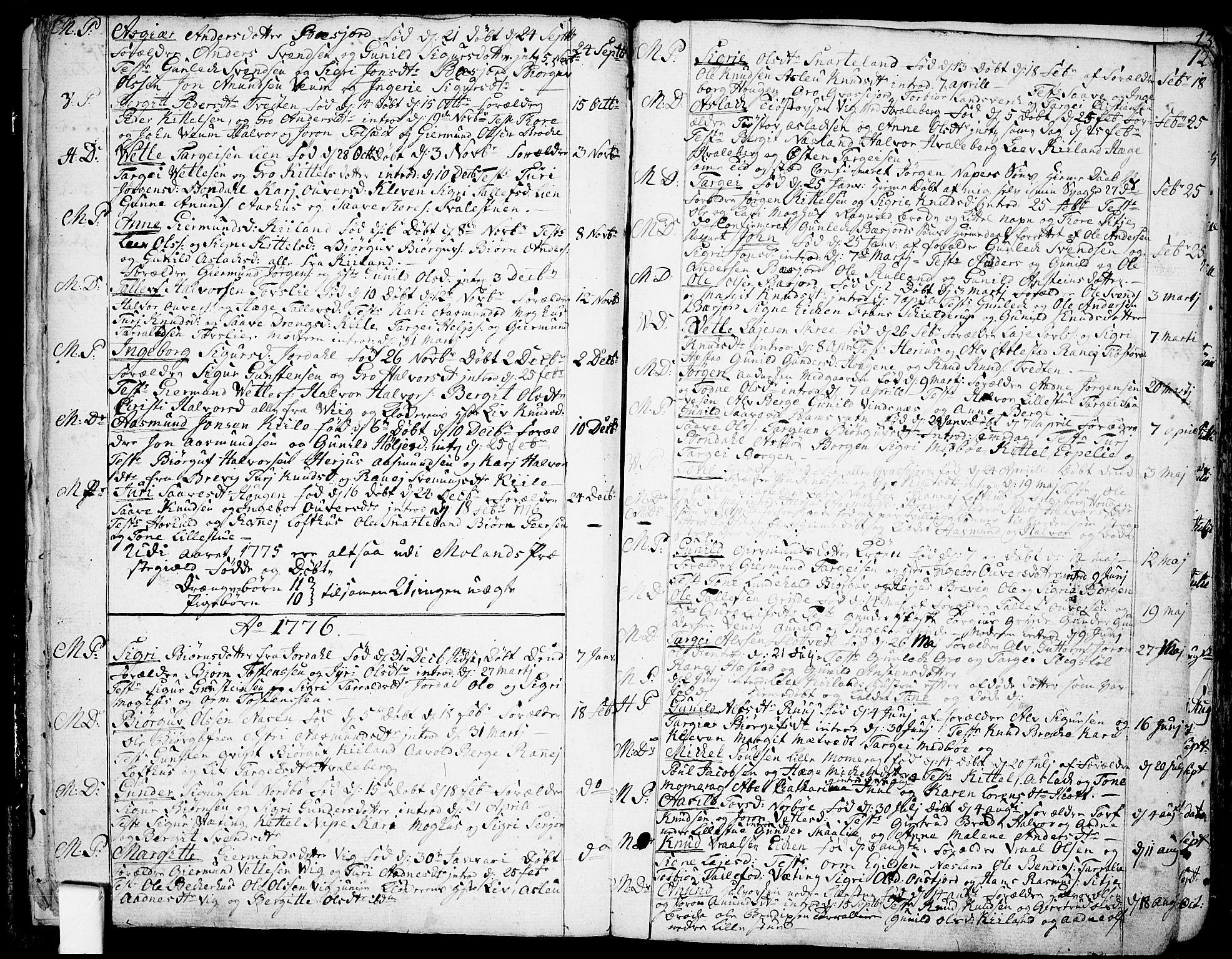 SAKO, Fyresdal kirkebøker, F/Fa/L0002: Ministerialbok nr. I 2, 1769-1814, s. 12