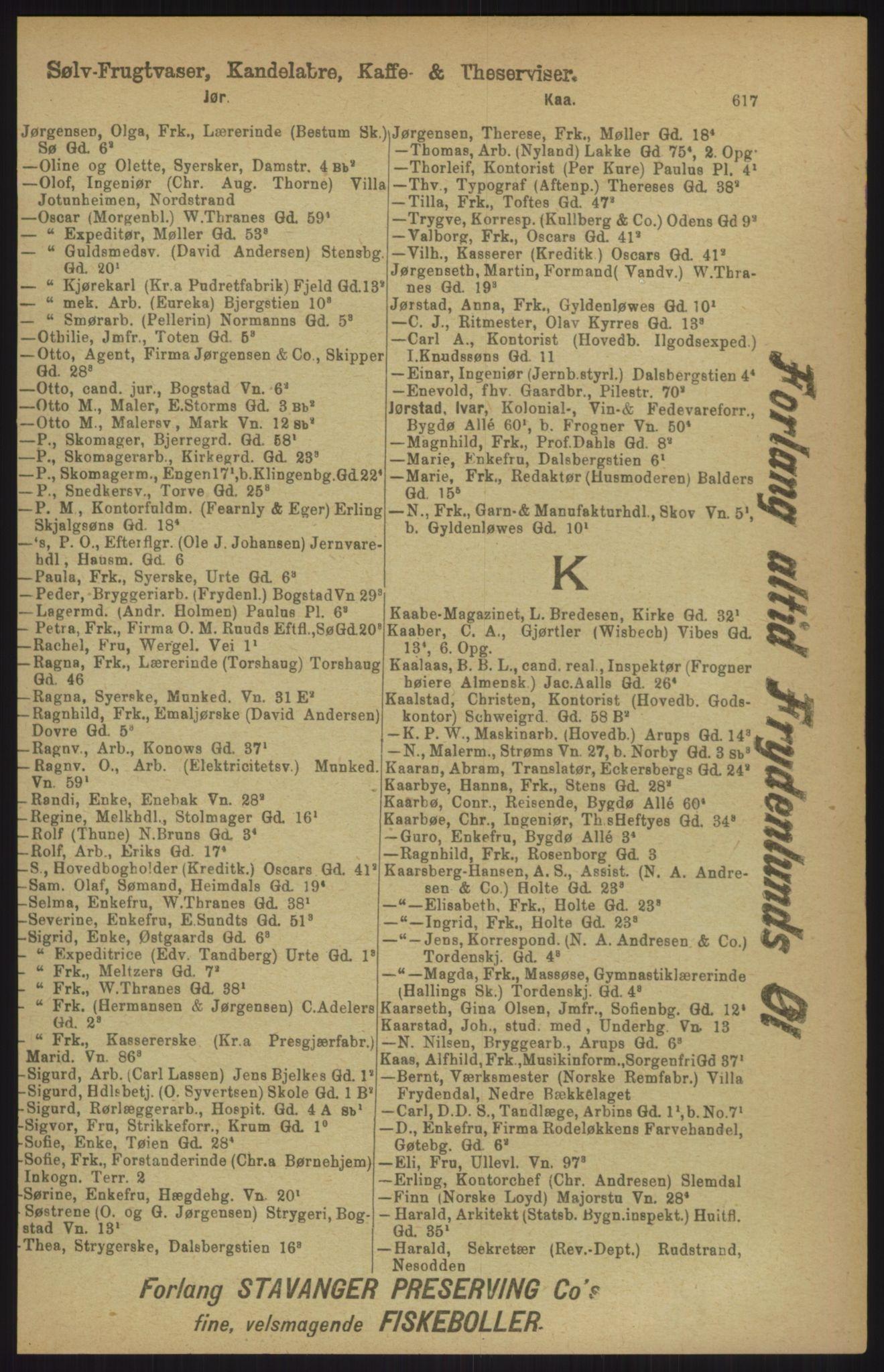 RA, Kristiania adressebok (publikasjon)*, 1911, s. 617