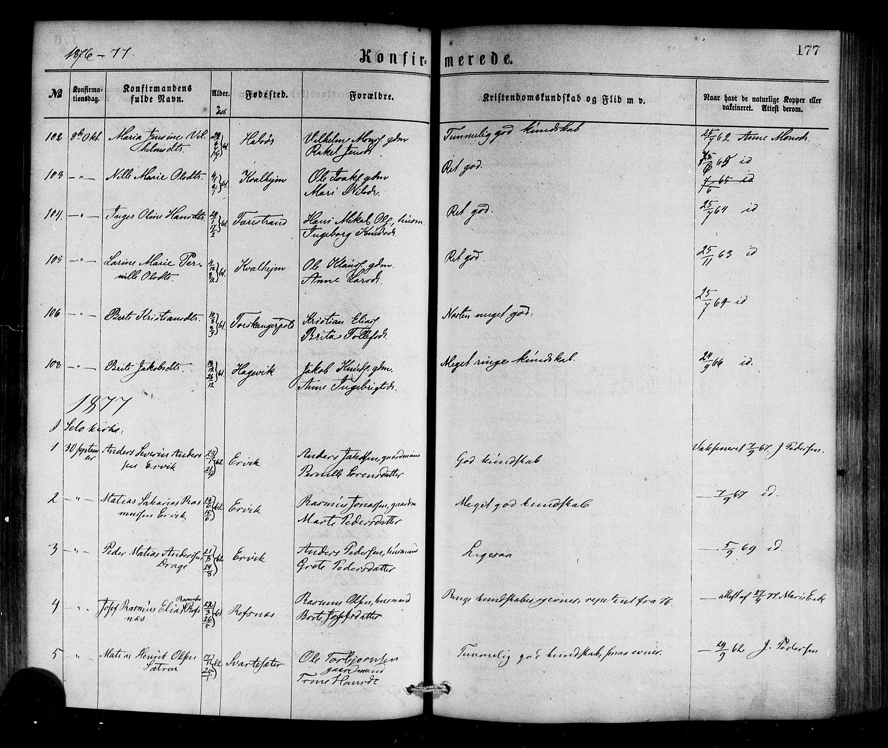SAB, Selje sokneprestembete*, Ministerialbok nr. A 12, 1870-1880, s. 177