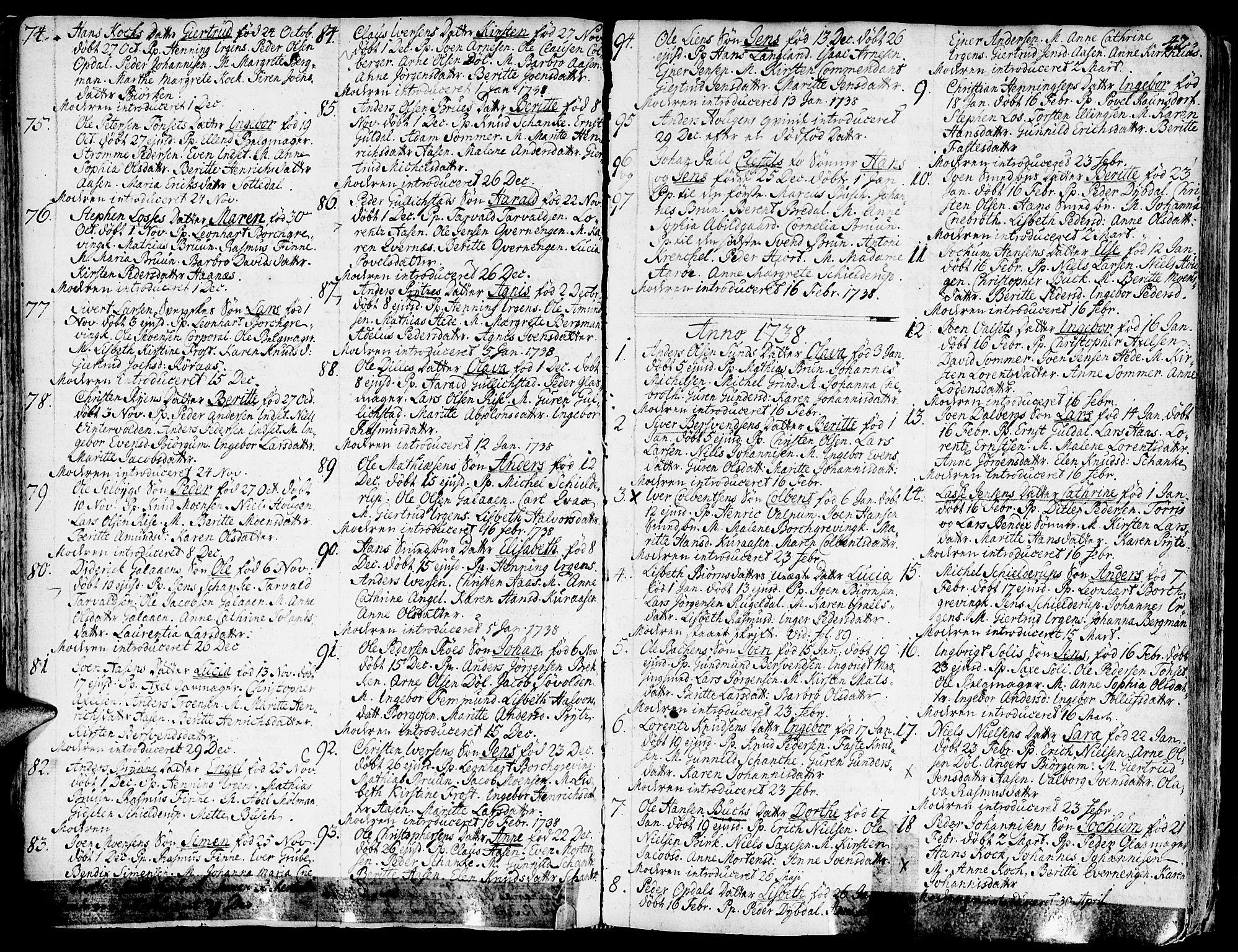 SAT, Ministerialprotokoller, klokkerbøker og fødselsregistre - Sør-Trøndelag, 681/L0925: Ministerialbok nr. 681A03, 1727-1766, s. 42