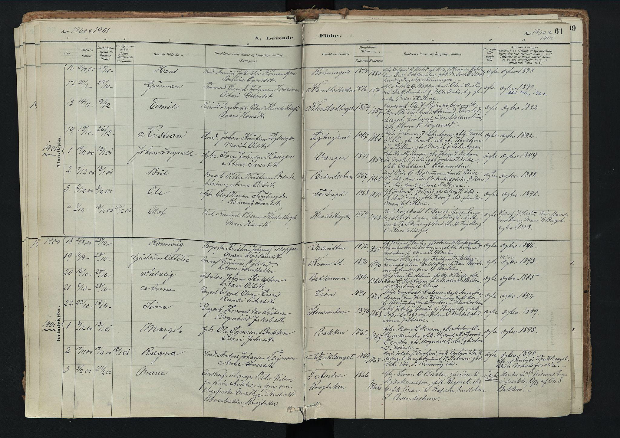SAH, Nord-Fron prestekontor, Ministerialbok nr. 3, 1884-1914, s. 61