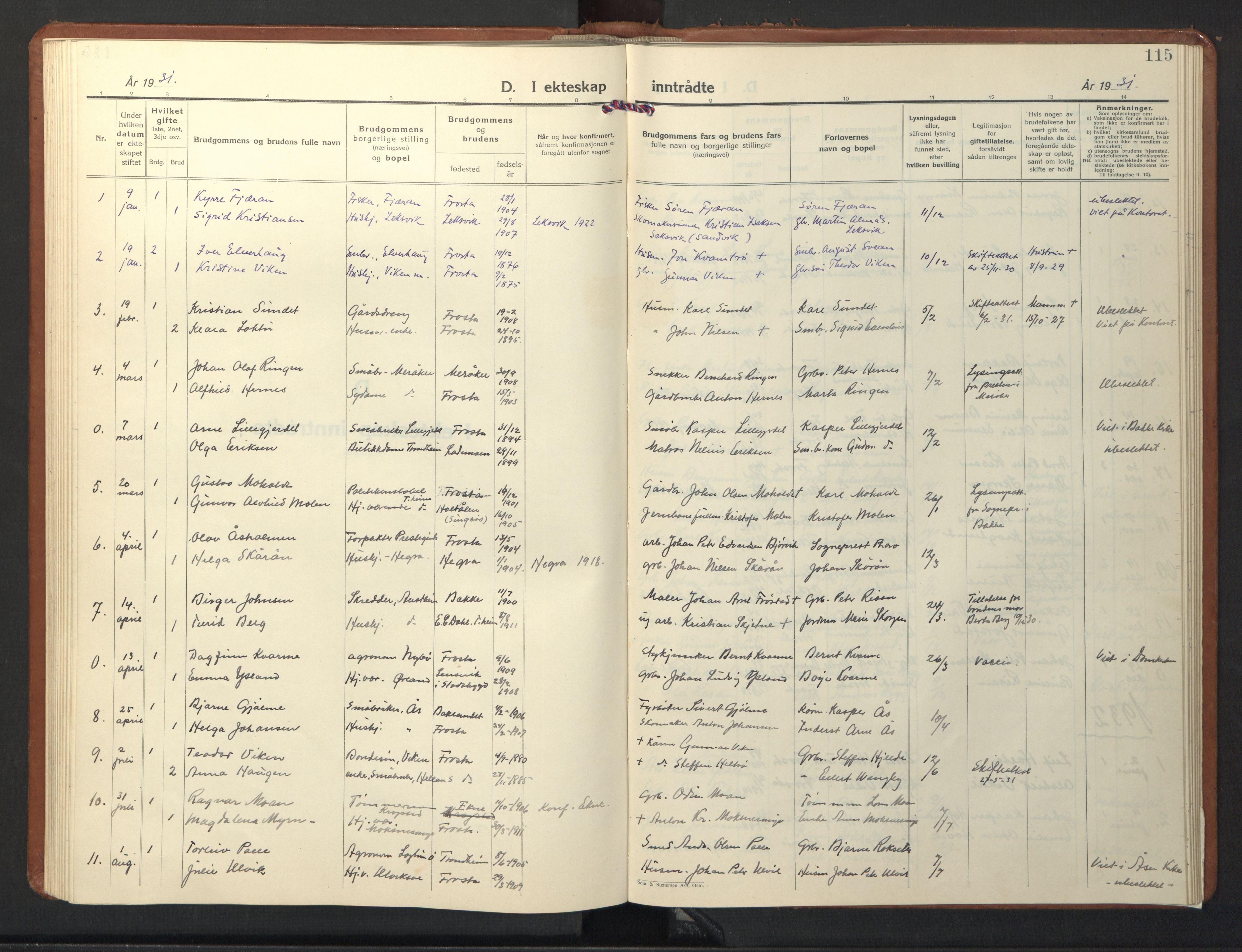 SAT, Ministerialprotokoller, klokkerbøker og fødselsregistre - Nord-Trøndelag, 713/L0125: Klokkerbok nr. 713C02, 1931-1941, s. 115