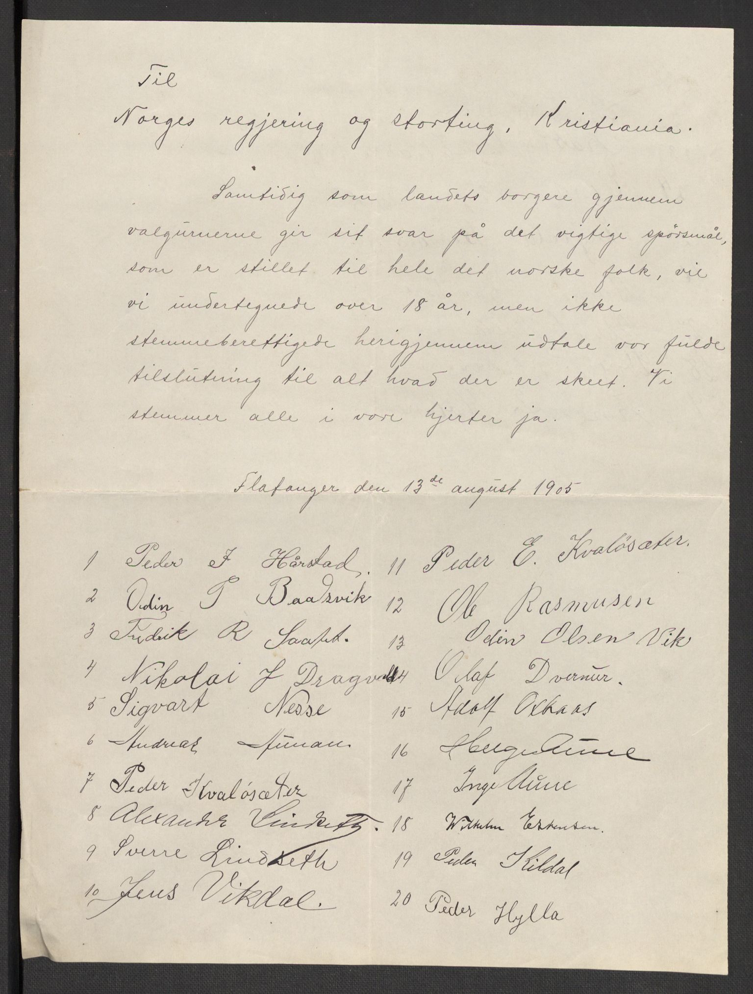 RA, Justisdepartementet, 2. sivilkontor C, F/L0125B: Folkeavstemmingen august 1905, 1905, s. 84