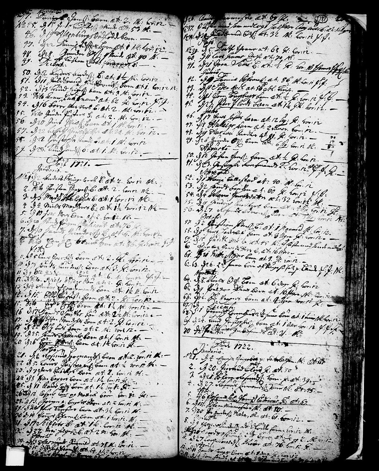 SAKO, Skien kirkebøker, F/Fa/L0002: Ministerialbok nr. 2, 1716-1757, s. 181