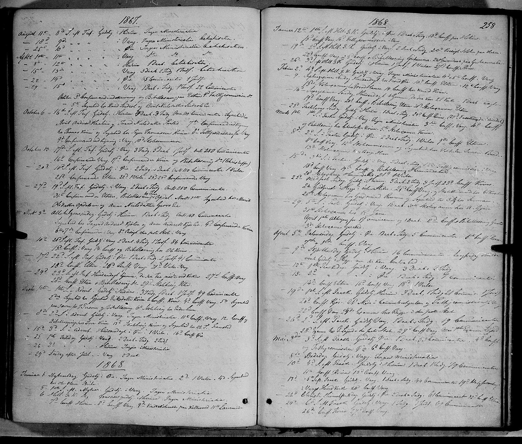 SAH, Vang prestekontor, Valdres, Ministerialbok nr. 7, 1865-1881, s. 258