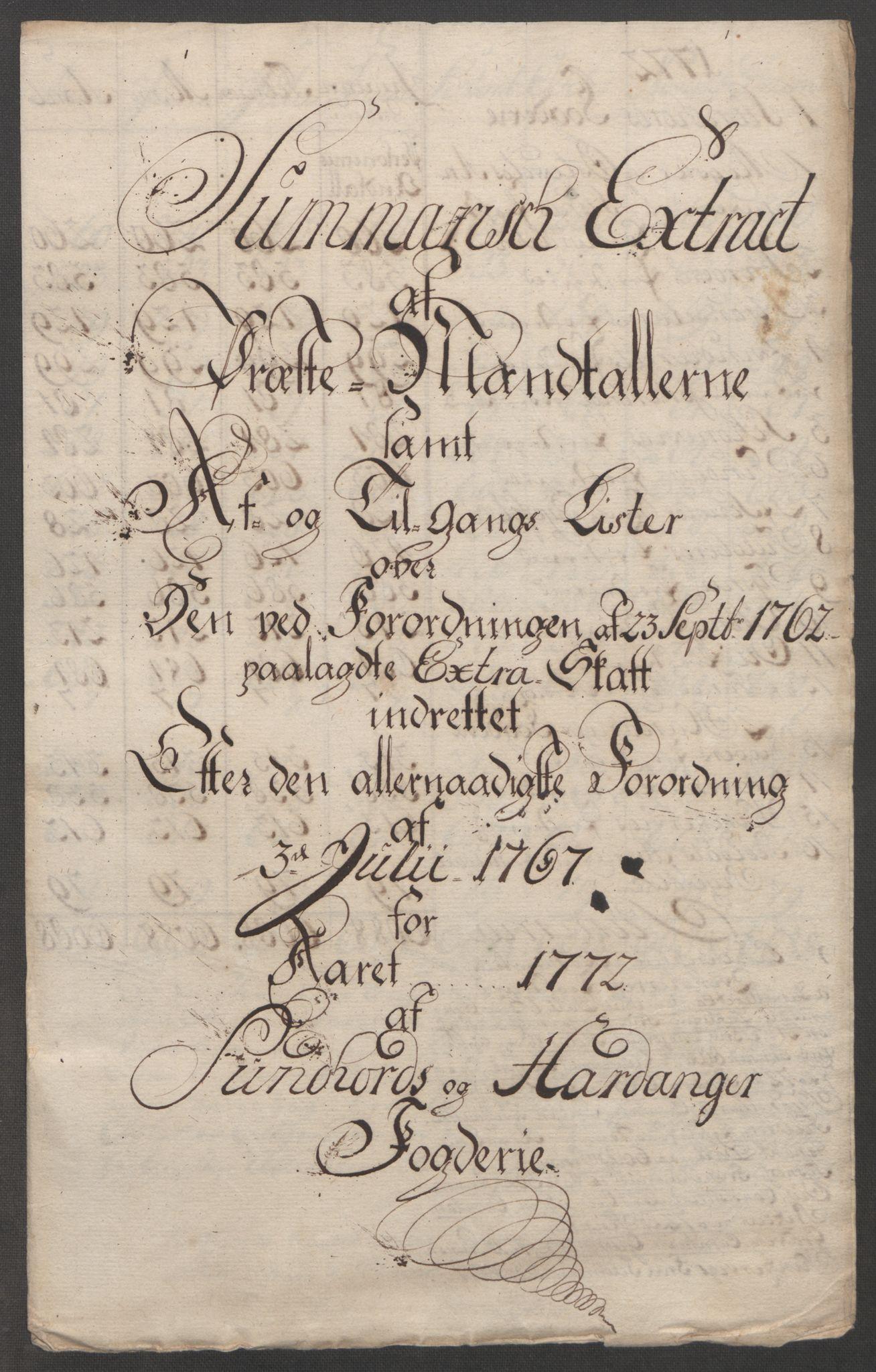RA, Rentekammeret inntil 1814, Reviderte regnskaper, Fogderegnskap, R48/L3136: Ekstraskatten Sunnhordland og Hardanger, 1762-1772, s. 269