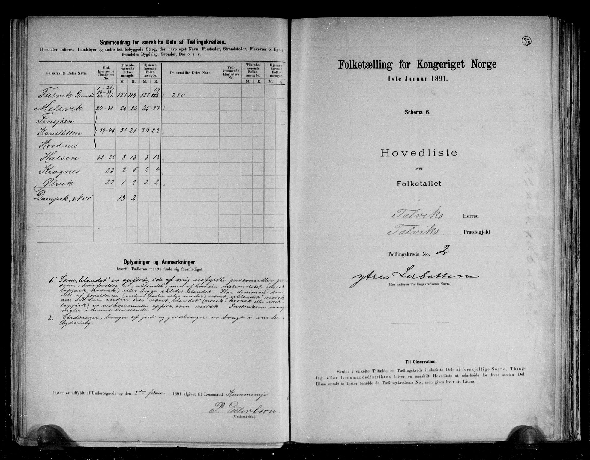 RA, Folketelling 1891 for 2013 Talvik herred, 1891, s. 10