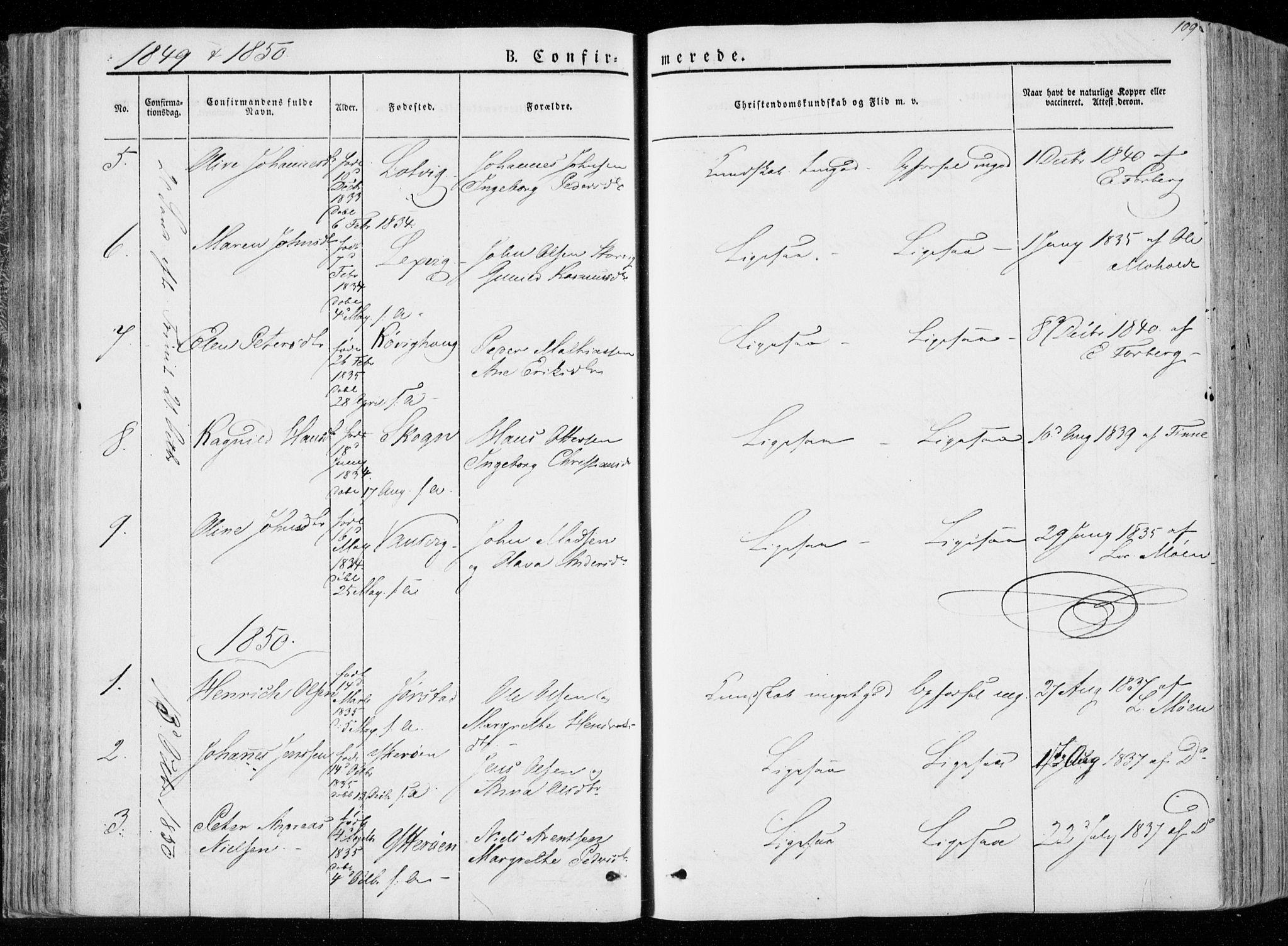 SAT, Ministerialprotokoller, klokkerbøker og fødselsregistre - Nord-Trøndelag, 722/L0218: Ministerialbok nr. 722A05, 1843-1868, s. 109