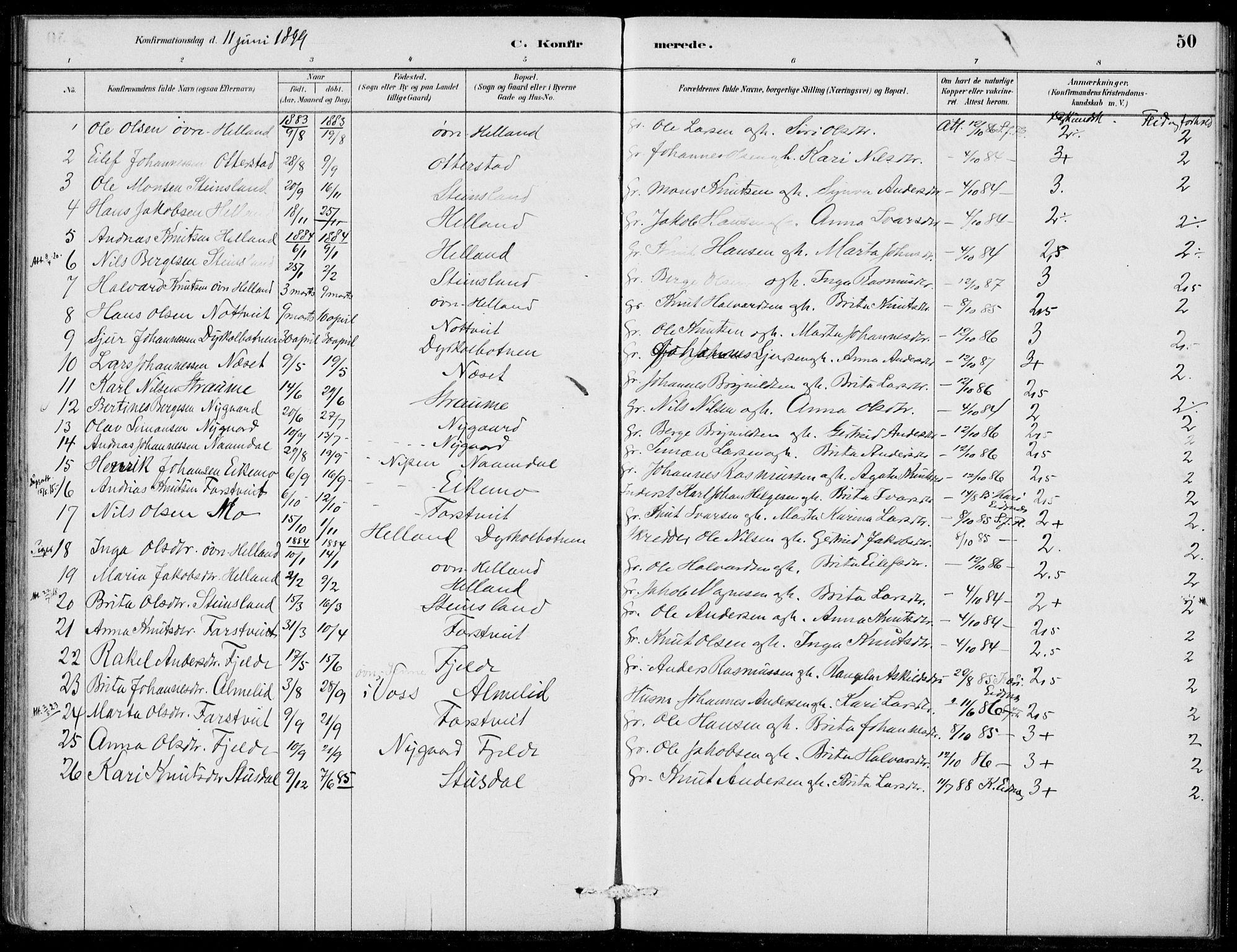 SAB, Hosanger Sokneprestembete, H/Haa: Ministerialbok nr. C  1, 1880-1900, s. 50