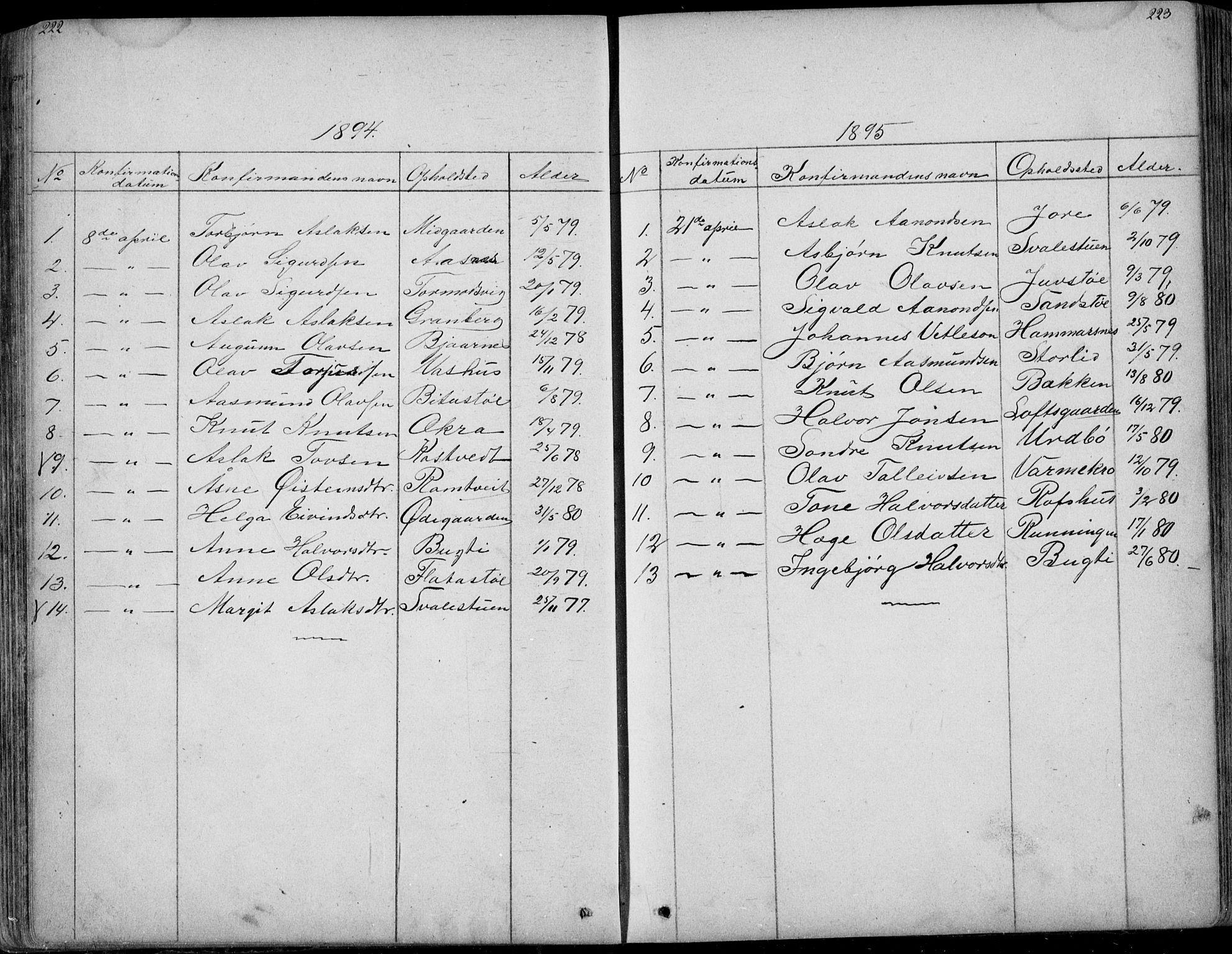 SAKO, Rauland kirkebøker, G/Ga/L0002: Klokkerbok nr. I 2, 1849-1935, s. 222-223