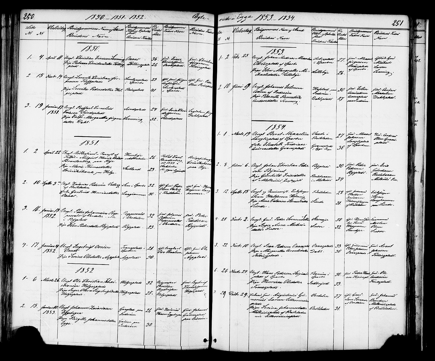 SAT, Ministerialprotokoller, klokkerbøker og fødselsregistre - Nord-Trøndelag, 739/L0367: Ministerialbok nr. 739A01 /3, 1838-1868, s. 250-251