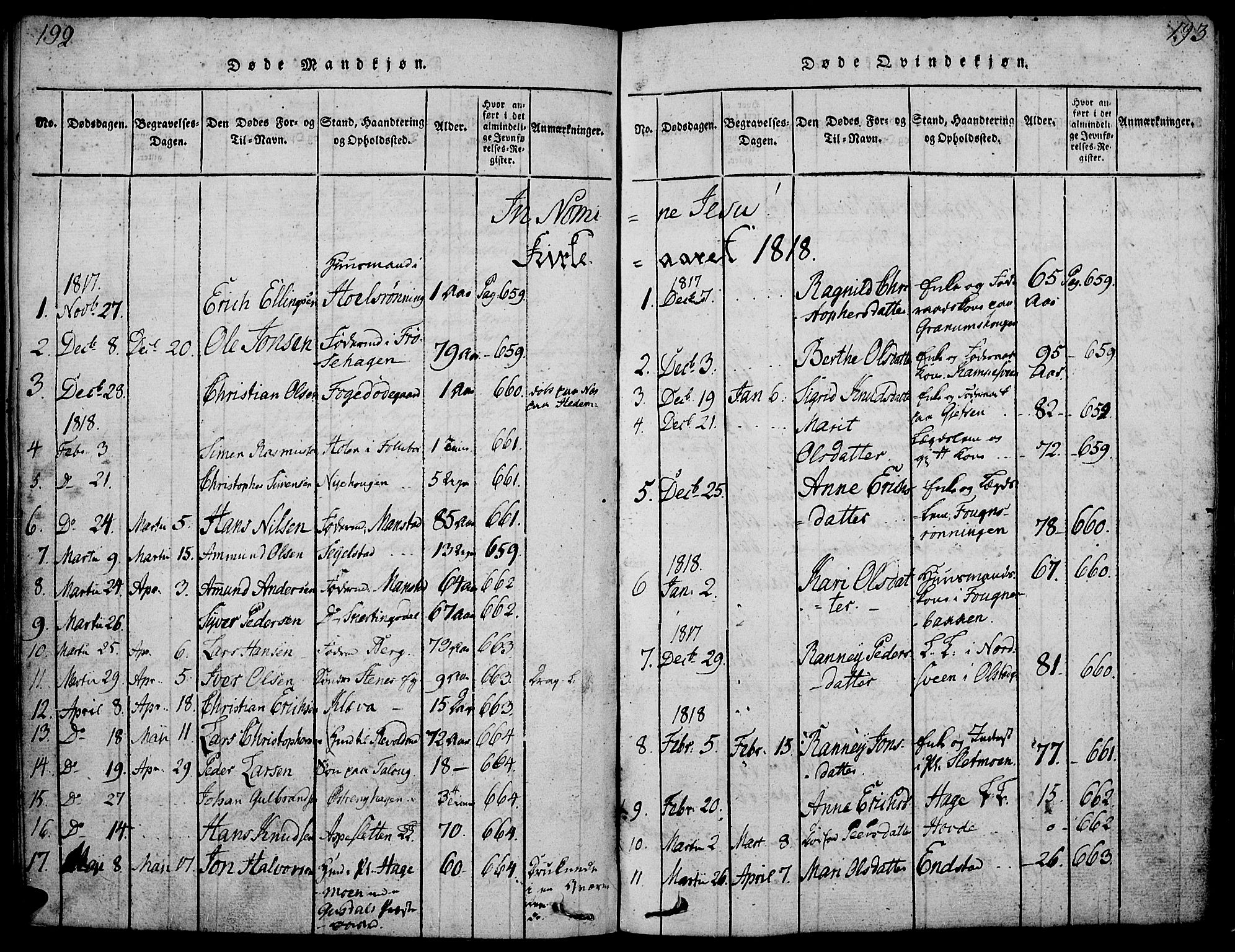 SAH, Gausdal prestekontor, Ministerialbok nr. 5, 1817-1829, s. 192-193
