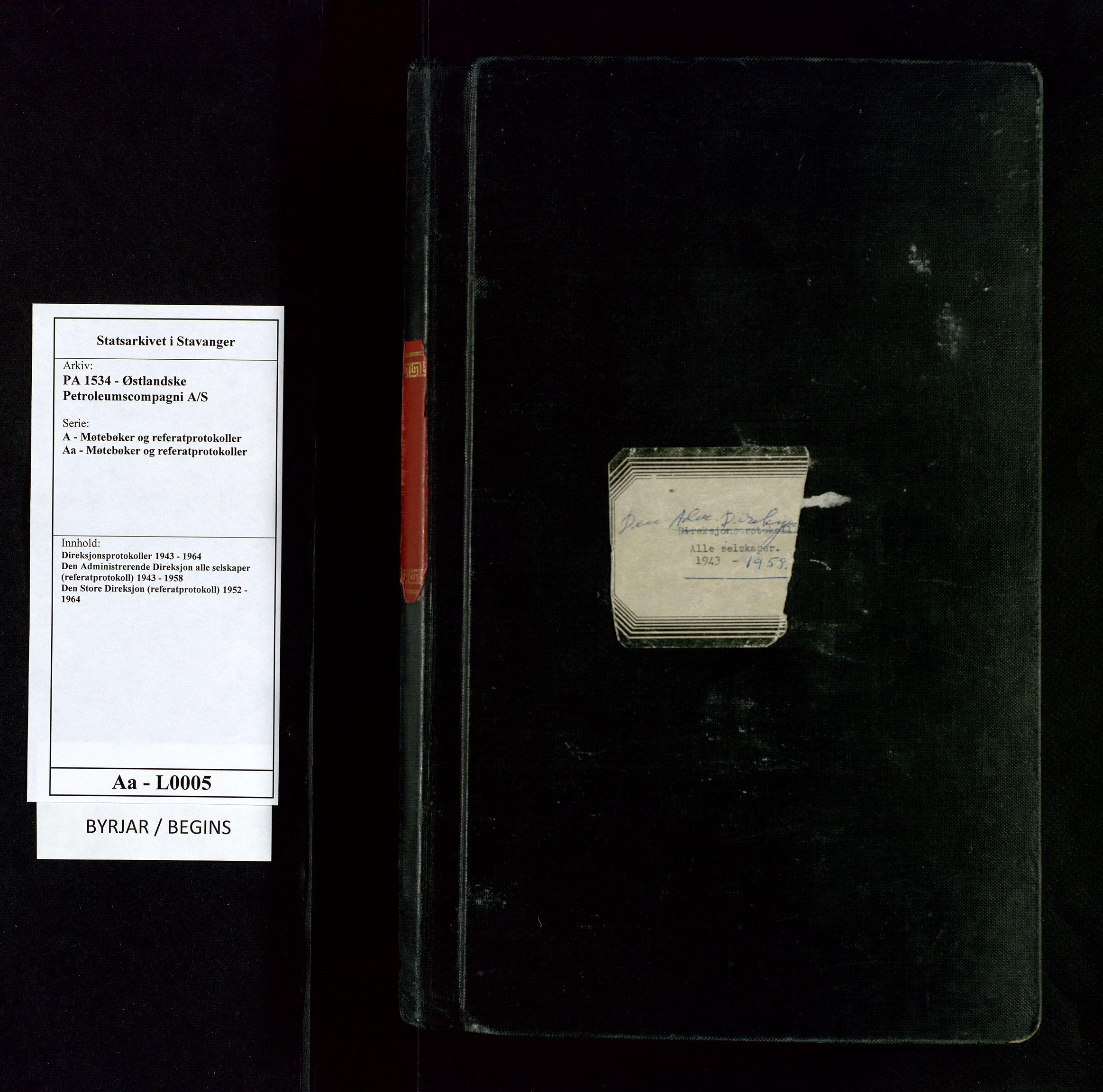 SAST, PA 1534 - Østlandske Petroleumscompagni A/S, A/Aa/L0005: Direksjonsprotokoller, 1943-1958, s. upaginert