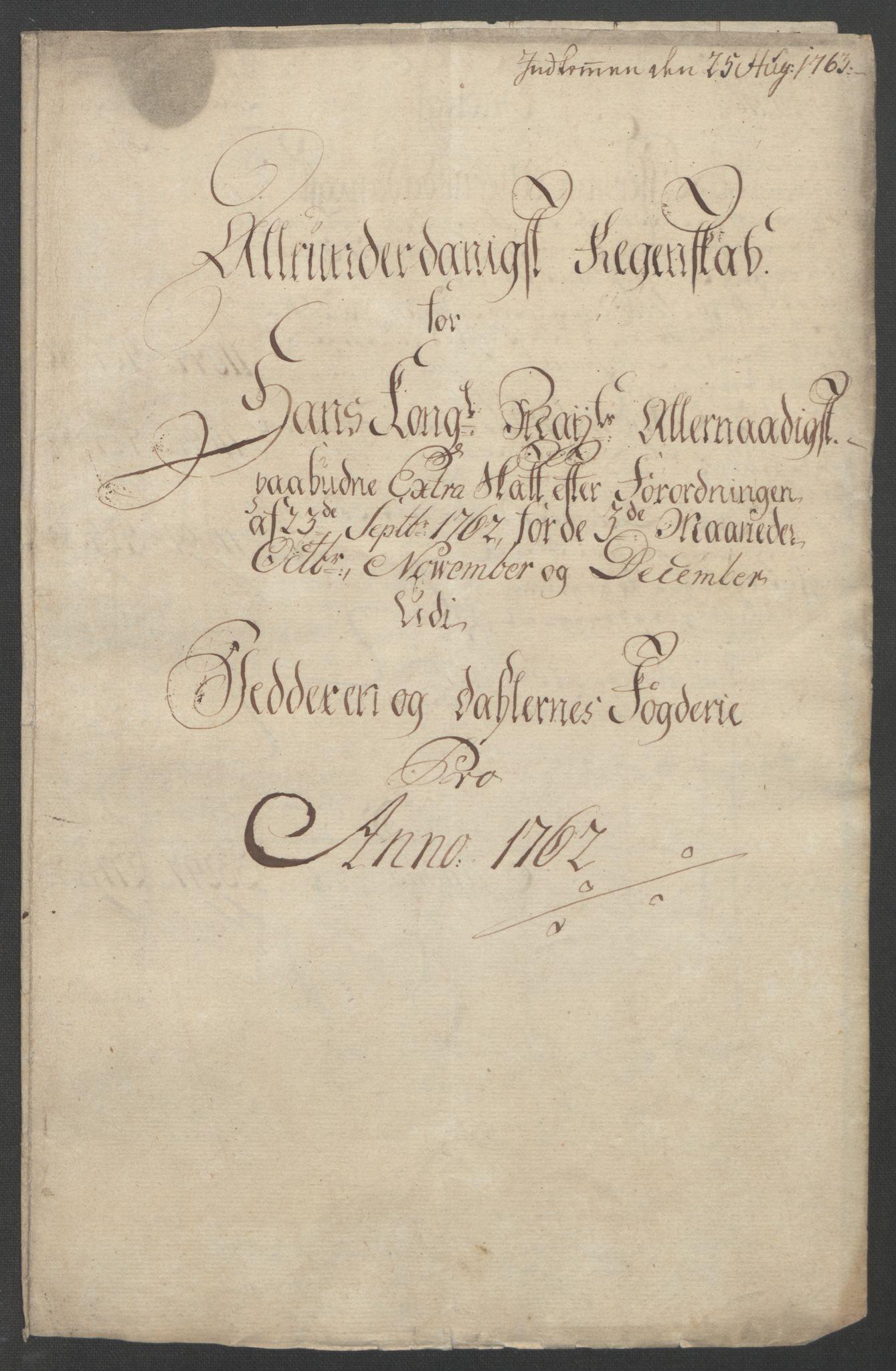 RA, Rentekammeret inntil 1814, Reviderte regnskaper, Fogderegnskap, R46/L2835: Ekstraskatten Jæren og Dalane, 1762-1764, s. 6