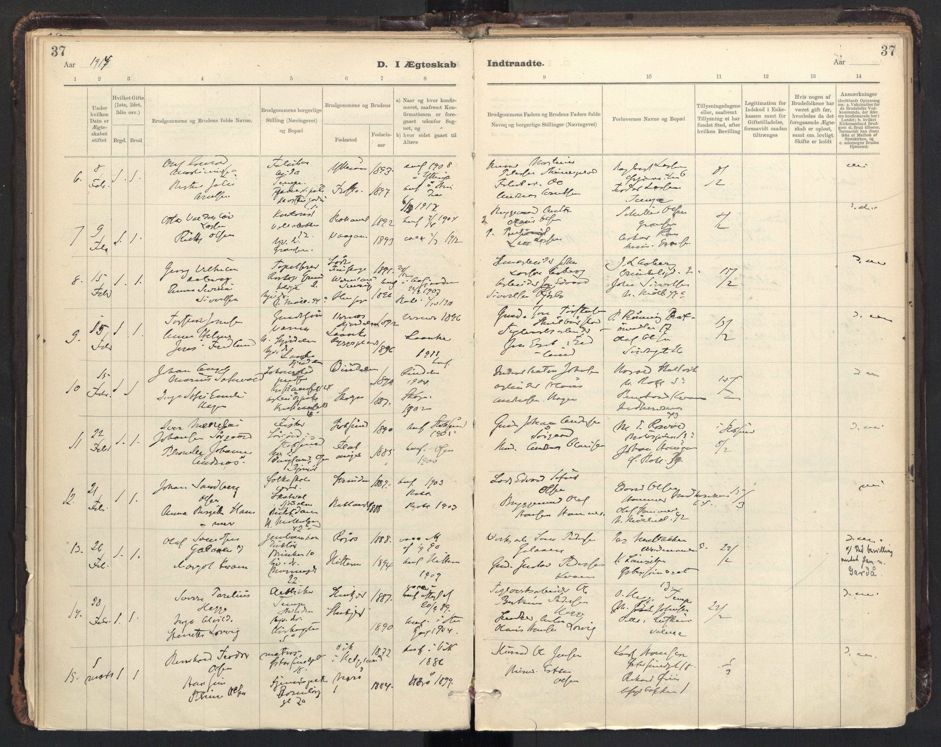 SAT, Ministerialprotokoller, klokkerbøker og fødselsregistre - Sør-Trøndelag, 604/L0204: Ministerialbok nr. 604A24, 1911-1920, s. 37