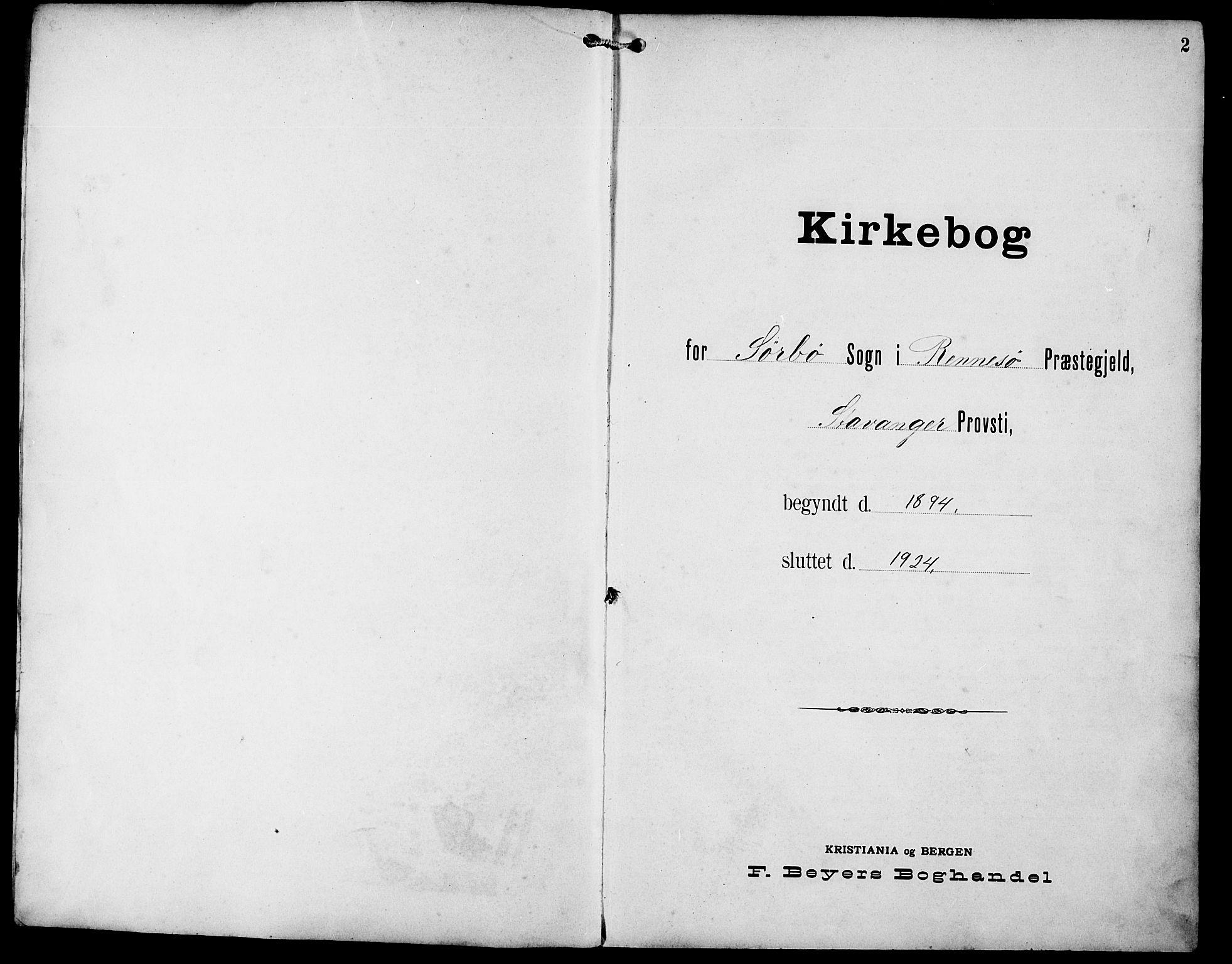SAST, Rennesøy sokneprestkontor, H/Ha/Hab/L0012: Klokkerbok nr. B 11, 1894-1924, s. 2