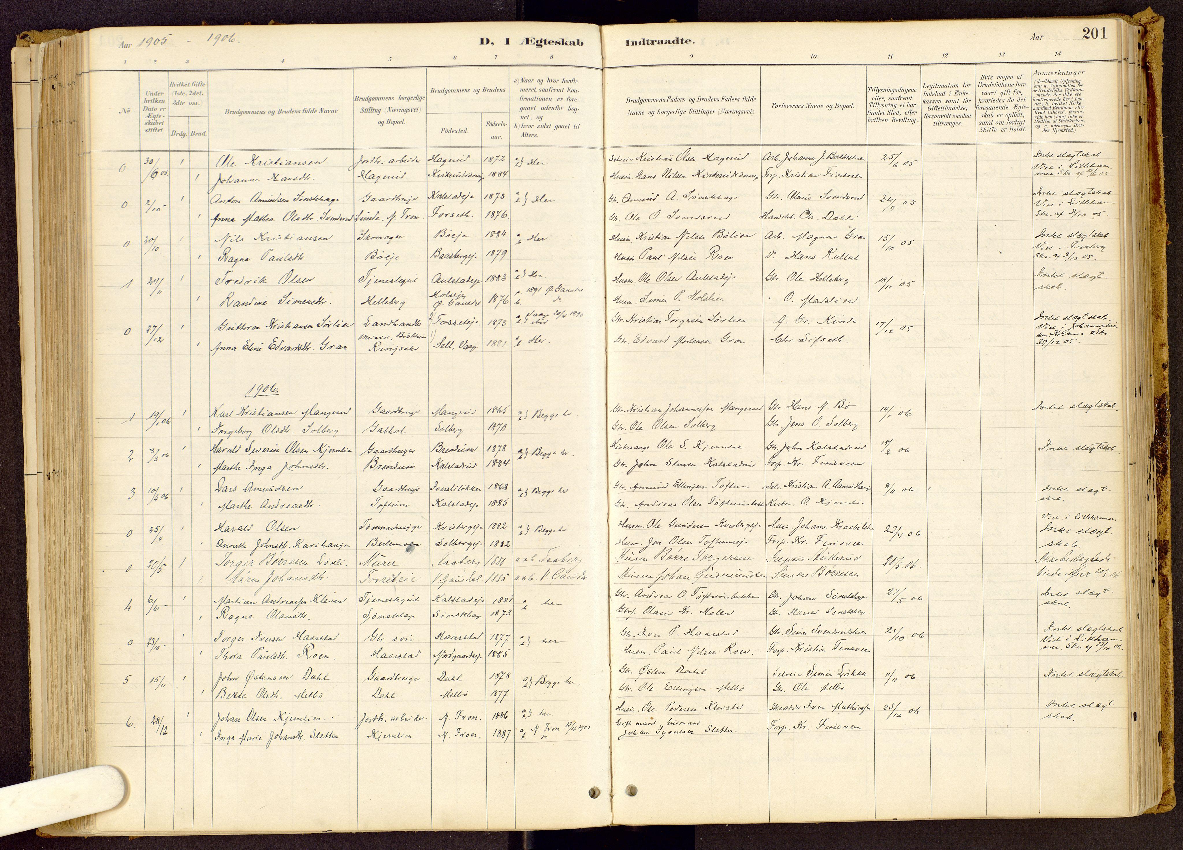 SAH, Vestre Gausdal prestekontor, Ministerialbok nr. 1, 1887-1914, s. 201
