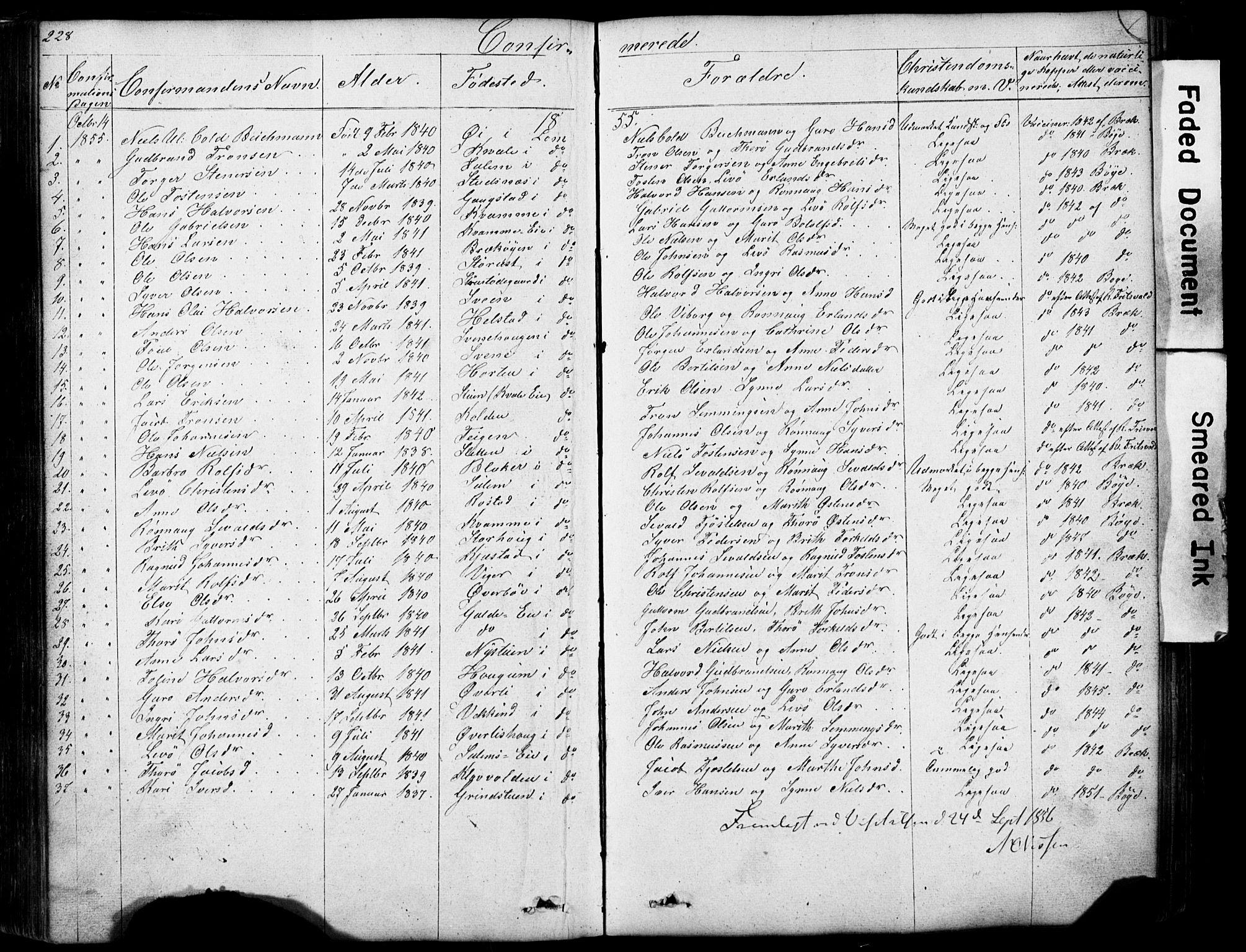 SAH, Lom prestekontor, L/L0012: Klokkerbok nr. 12, 1845-1873, s. 228-229