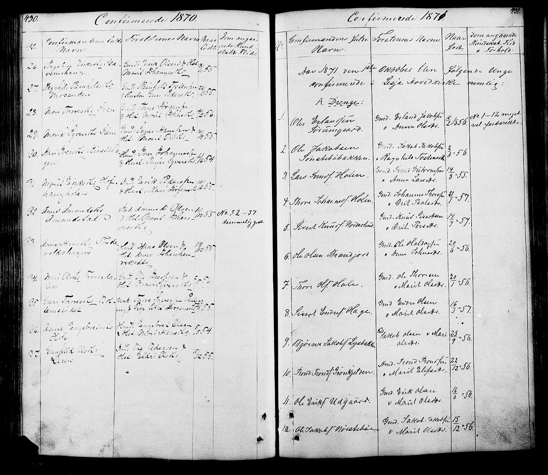 SAH, Lesja prestekontor, Klokkerbok nr. 5, 1850-1894, s. 430-431