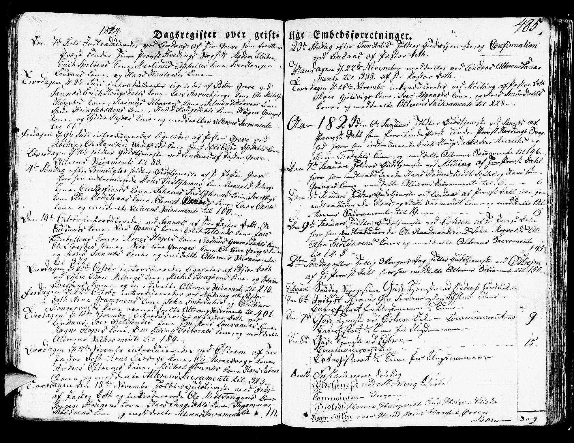 SAB, Lindås Sokneprestembete, H/Haa: Ministerialbok nr. A 8, 1823-1836, s. 485
