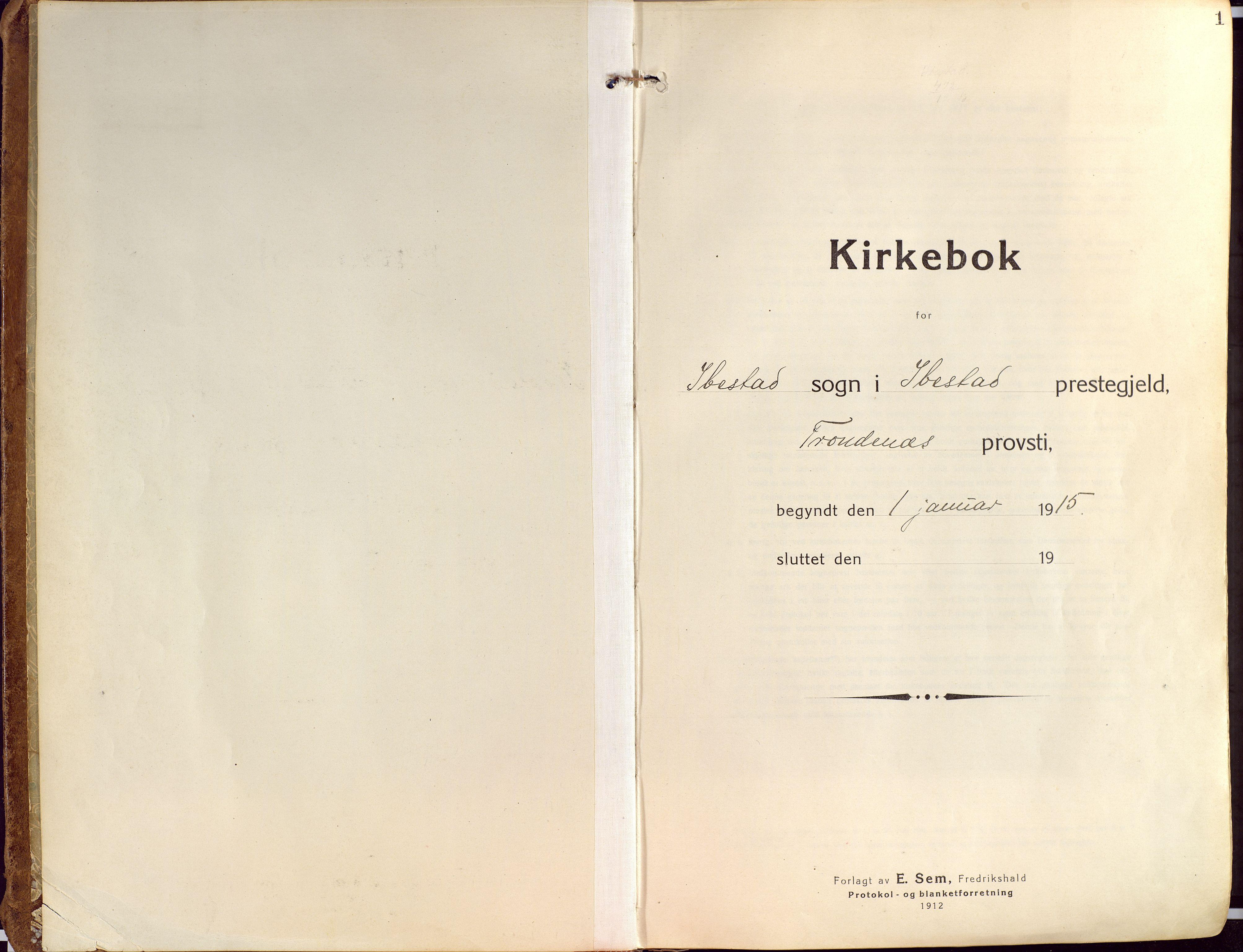 SATØ, Ibestad sokneprestembete, Ministerialbok nr. 18, 1915-1929, s. 1