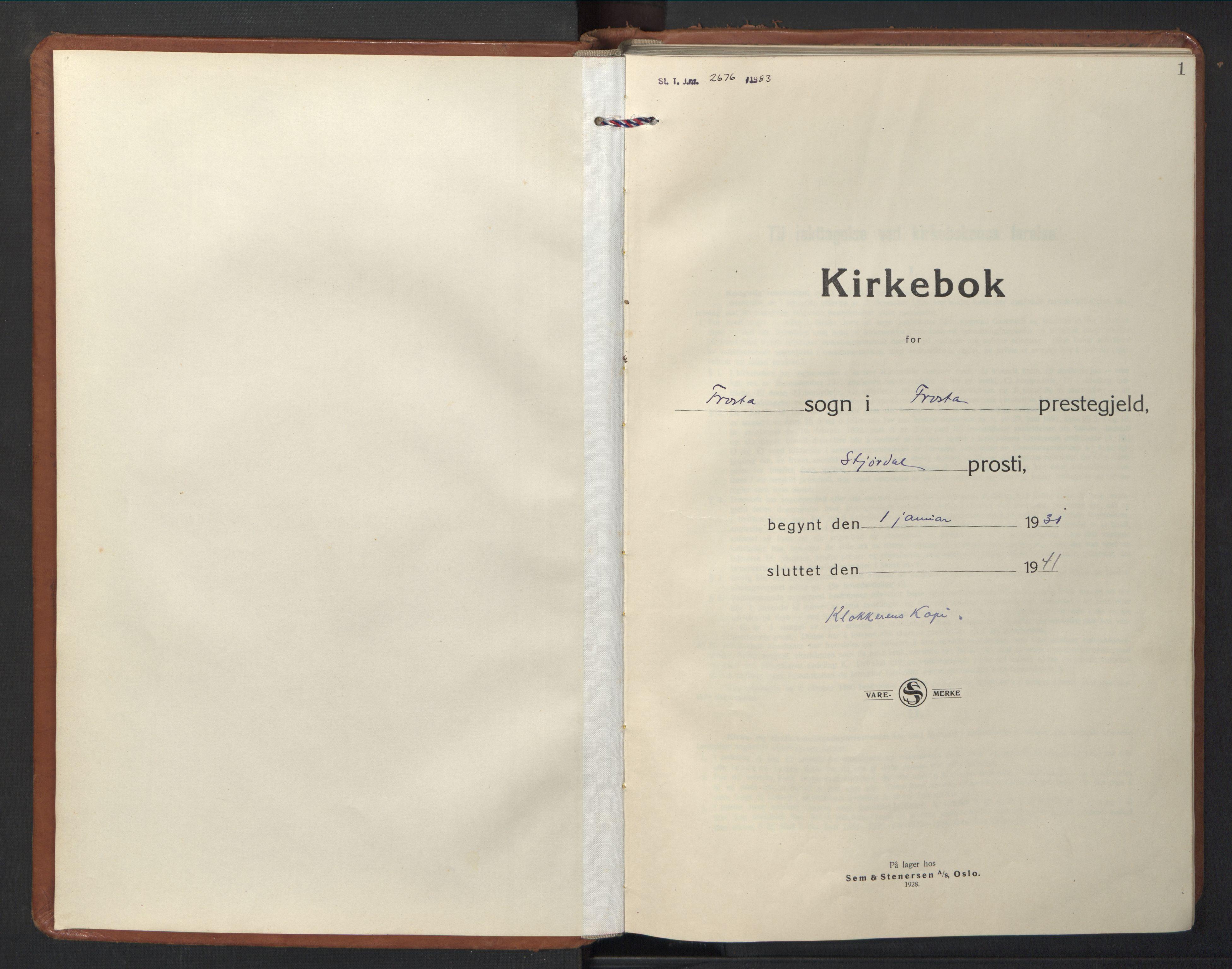 SAT, Ministerialprotokoller, klokkerbøker og fødselsregistre - Nord-Trøndelag, 713/L0125: Klokkerbok nr. 713C02, 1931-1941, s. 1