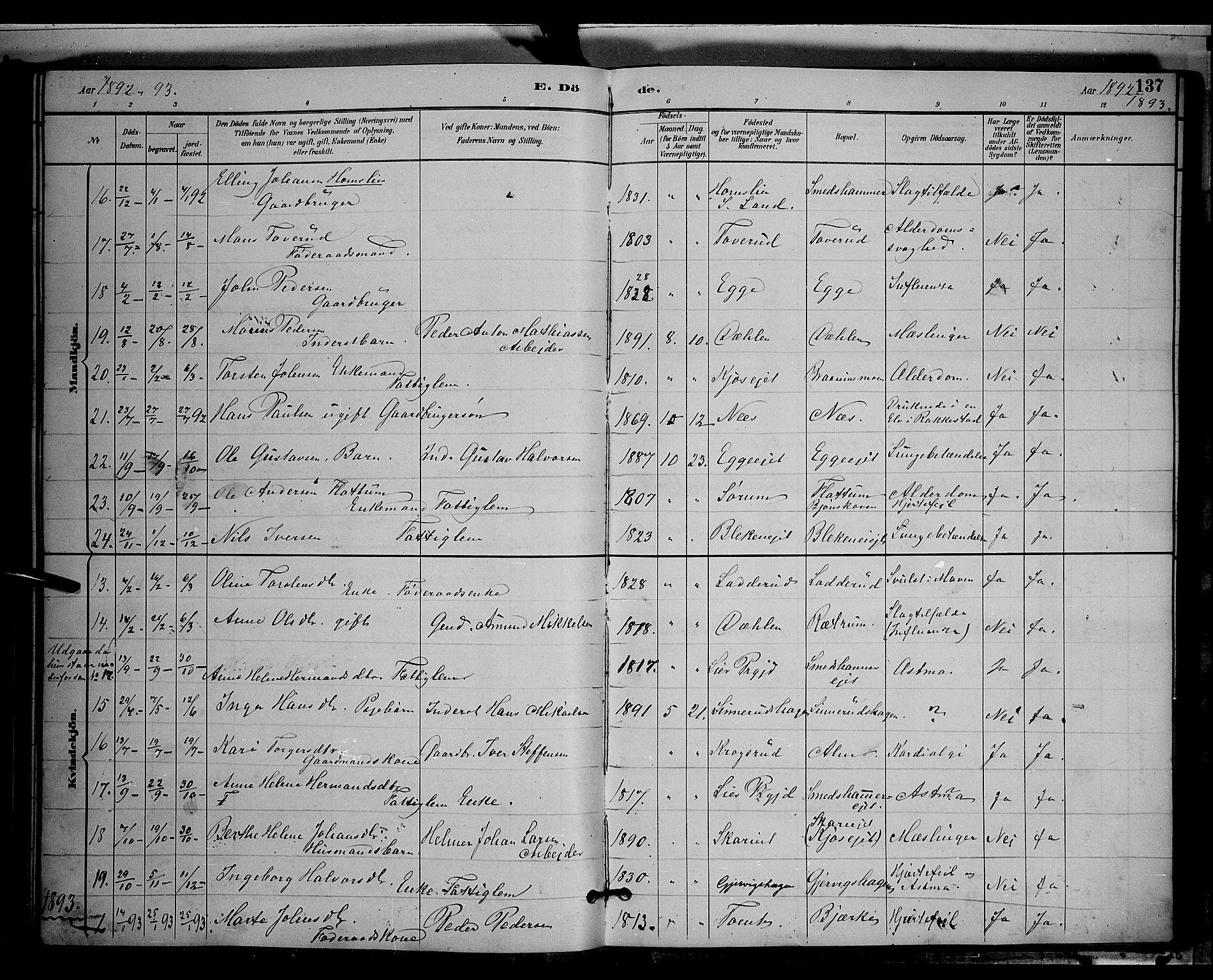 SAH, Gran prestekontor, Klokkerbok nr. 4, 1890-1899, s. 137