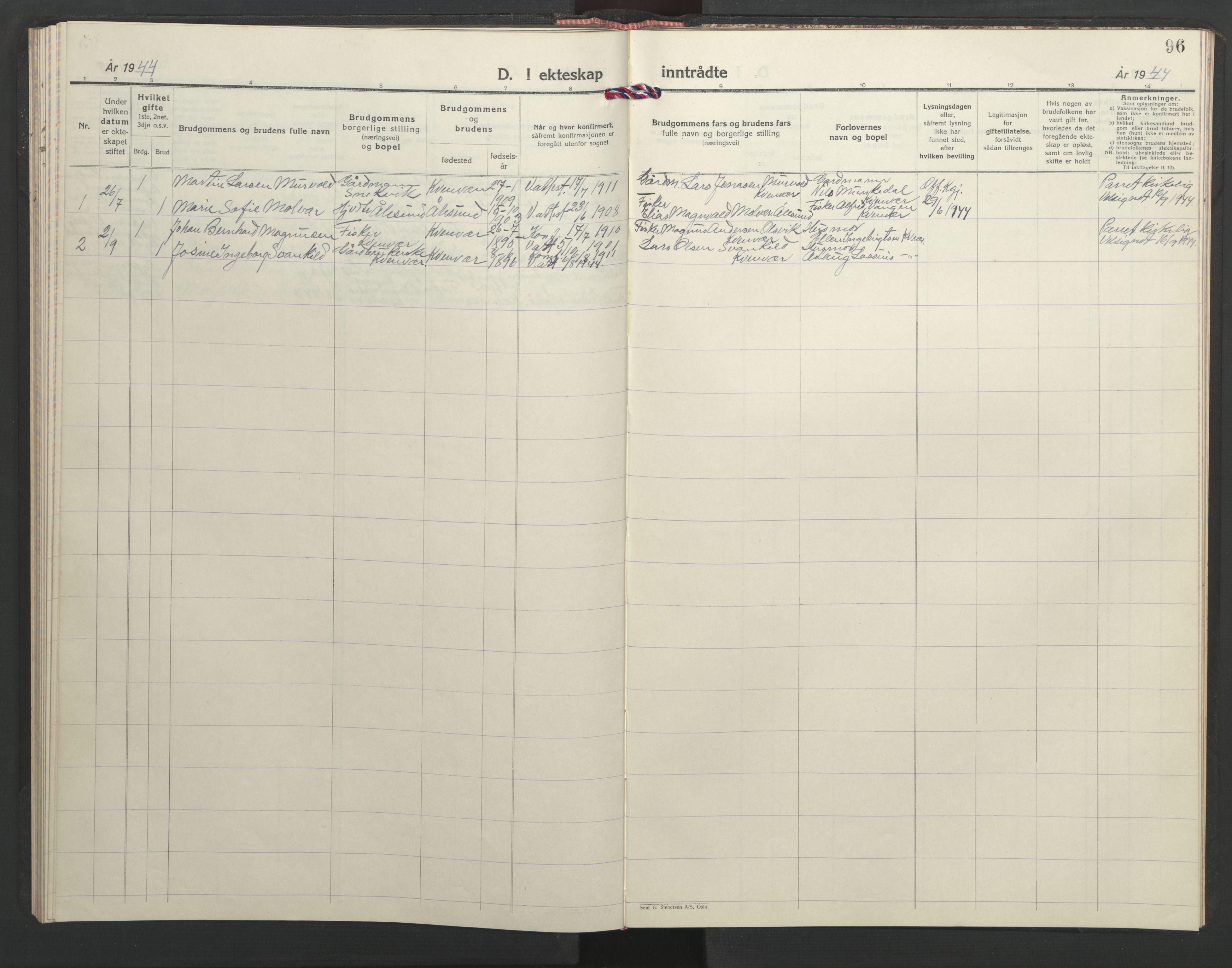 SAT, Ministerialprotokoller, klokkerbøker og fødselsregistre - Sør-Trøndelag, 635/L0556: Klokkerbok nr. 635C04, 1943-1945, s. 96