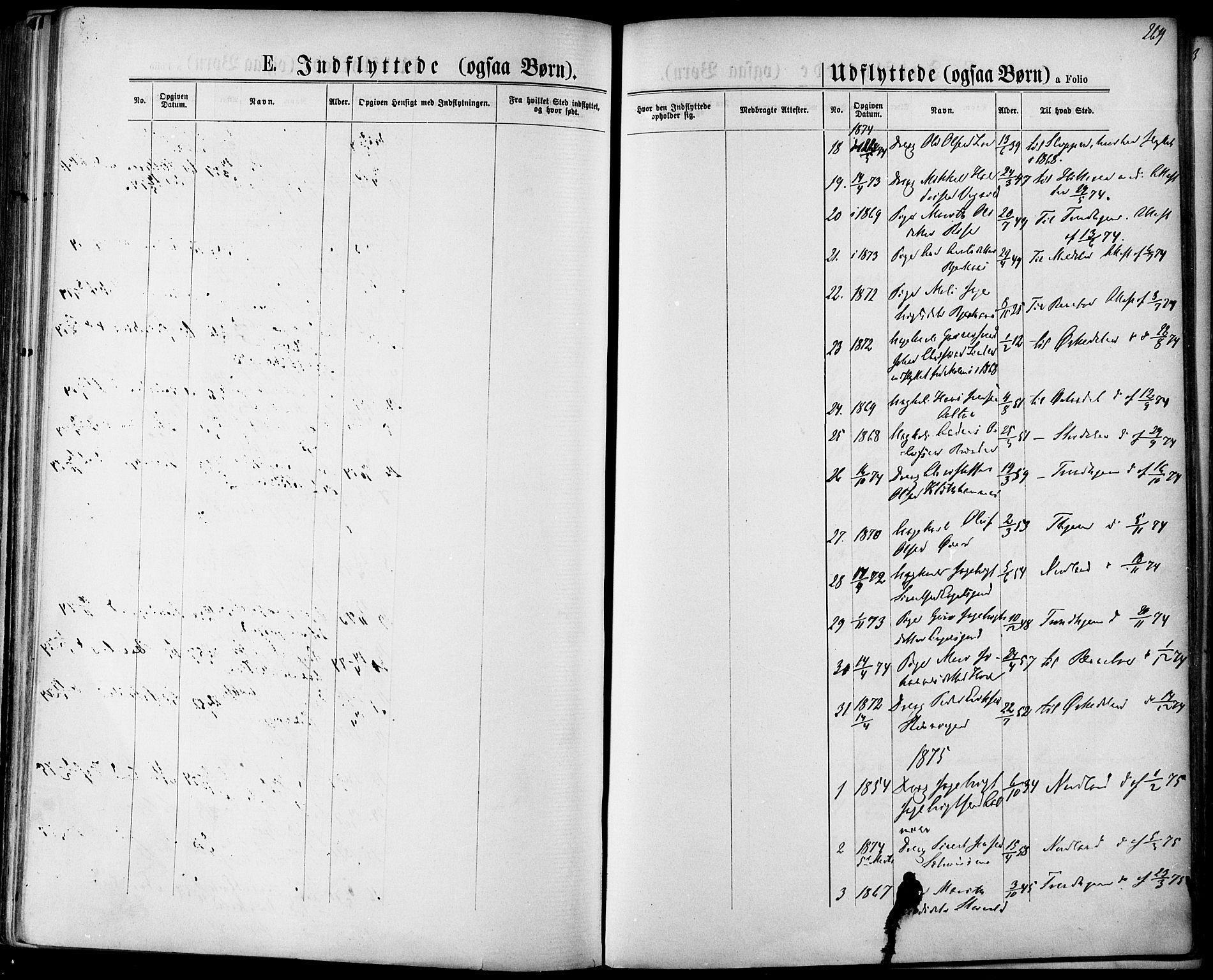 SAT, Ministerialprotokoller, klokkerbøker og fødselsregistre - Sør-Trøndelag, 678/L0900: Ministerialbok nr. 678A09, 1872-1881, s. 269